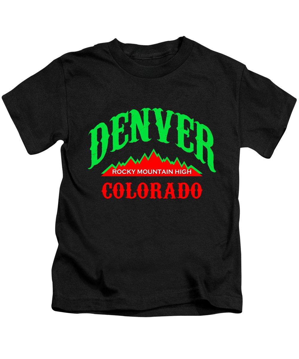 Rocky Mountains Mixed Media Kids T-Shirts