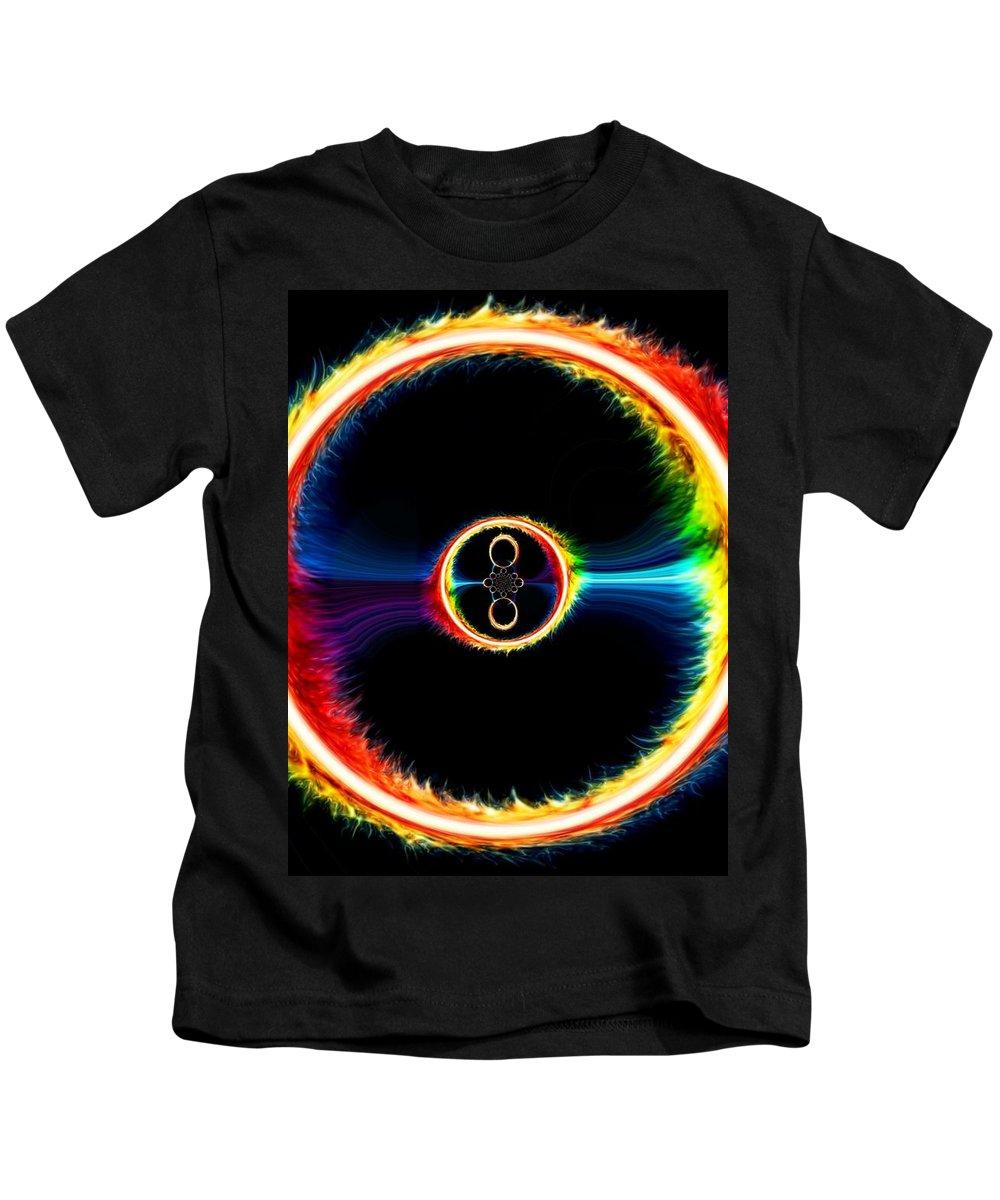 Feu Kids T-Shirt featuring the digital art Des Anneaux Des Feu by Estefania AVILA