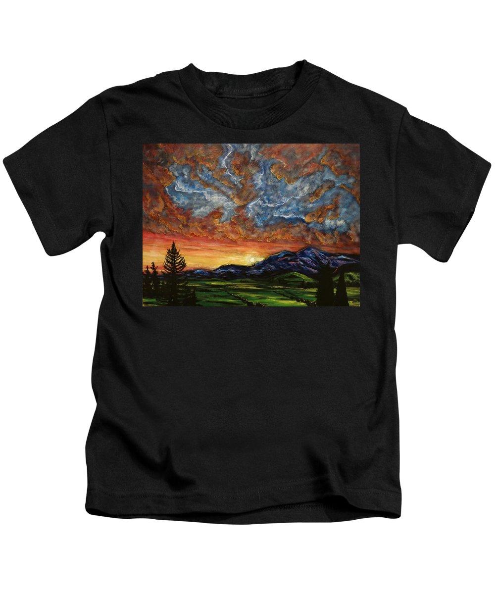Landscape Kids T-Shirt featuring the painting Descent On Mount Diablo by Joel Tesch