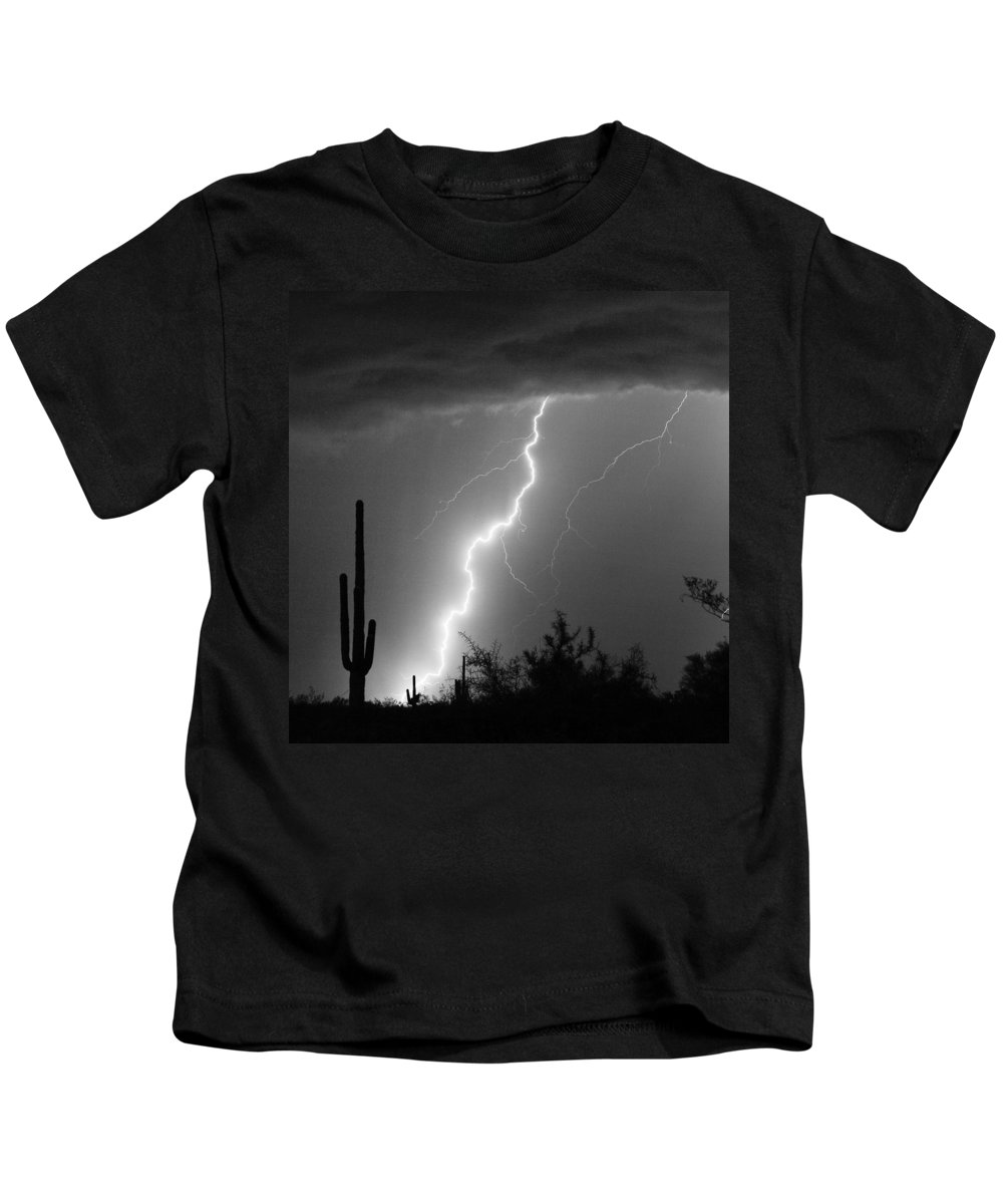Black And White Kids T-Shirt featuring the photograph Desert Striking In Black And White by James BO Insogna