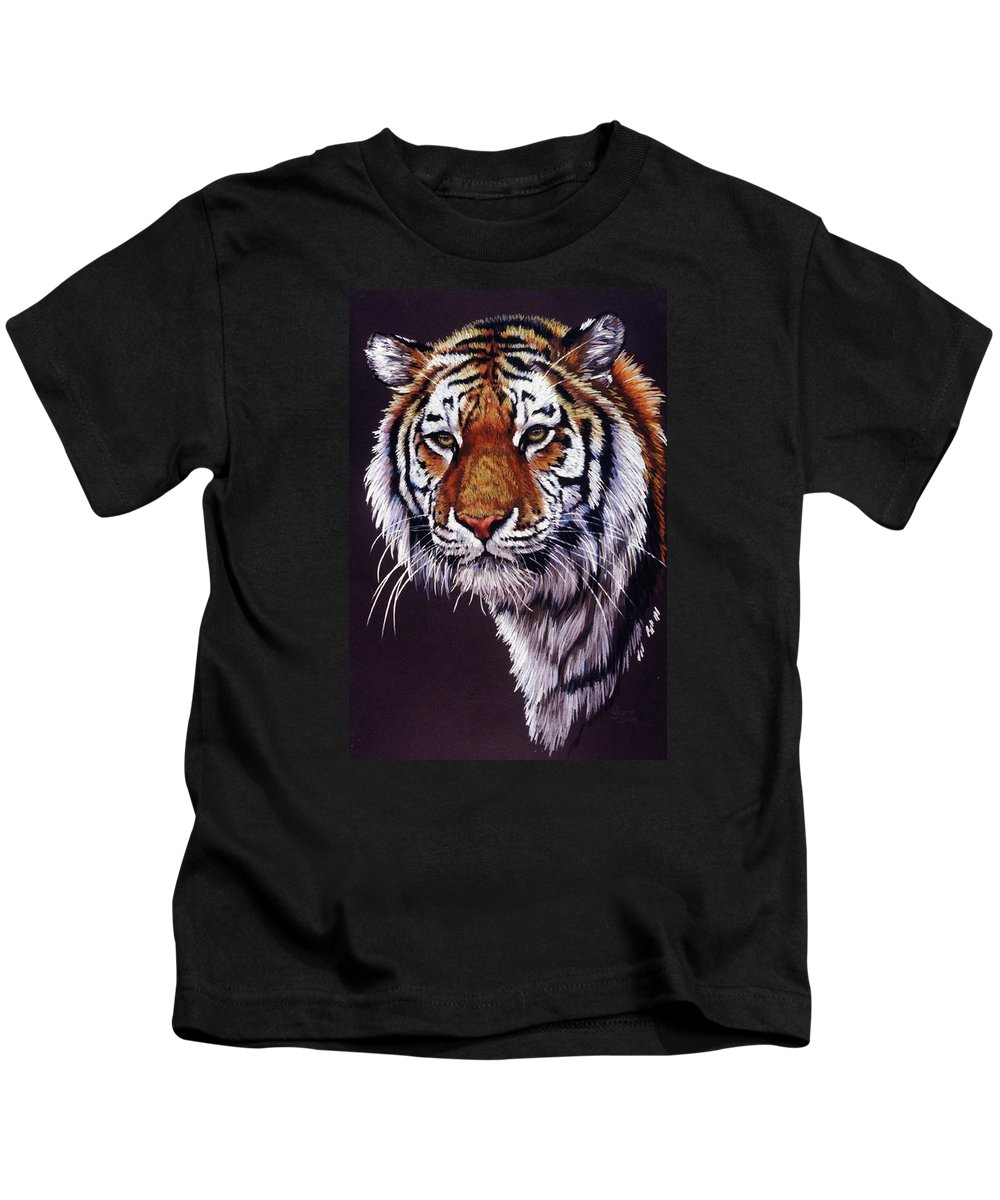 Tiger Kids T-Shirt featuring the drawing Desperado by Barbara Keith