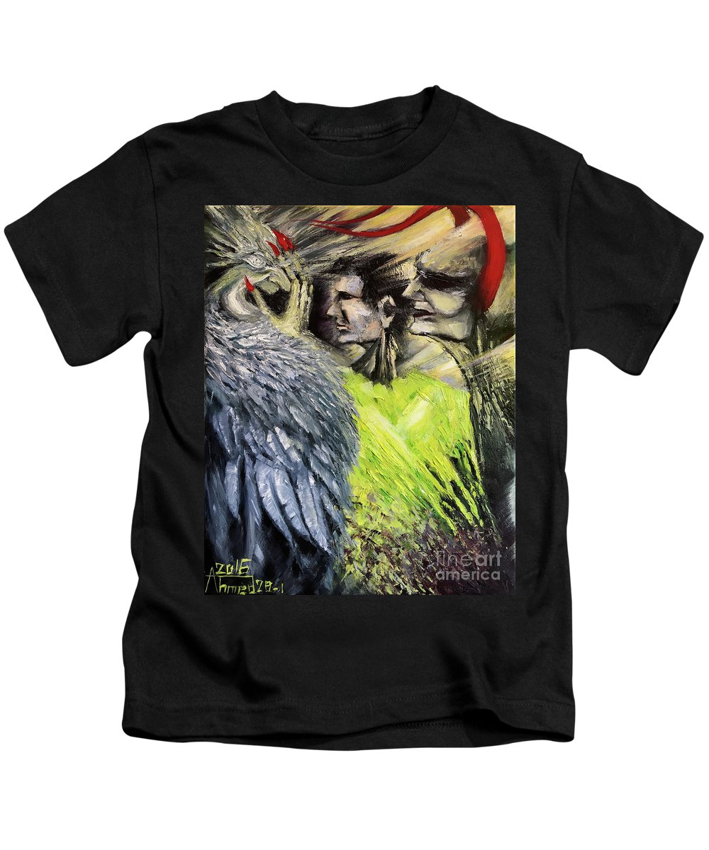 Kids T-Shirt featuring the painting Devil Vs Angel by Ahmed Al-Saleh