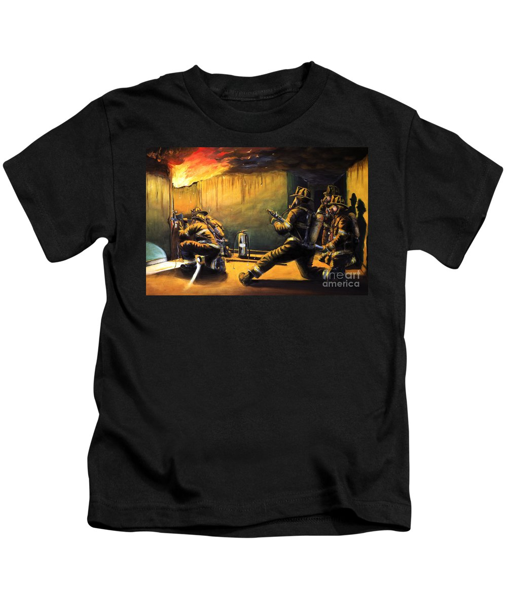 Firefighting Kids T-Shirt featuring the painting Devil's Doorway II by Paul Walsh