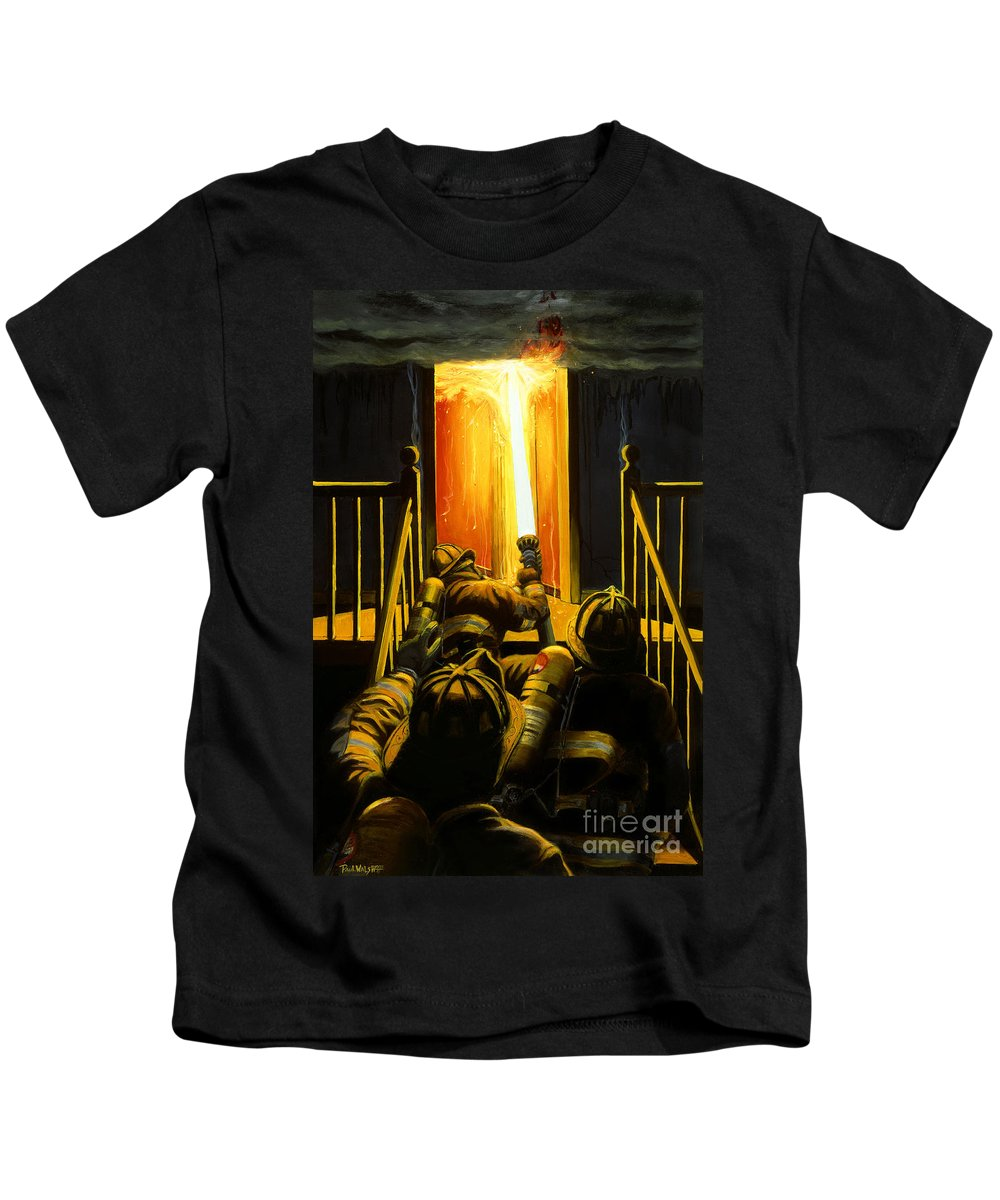 Firefighting Kids T-Shirt featuring the painting Devil's Stairway by Paul Walsh