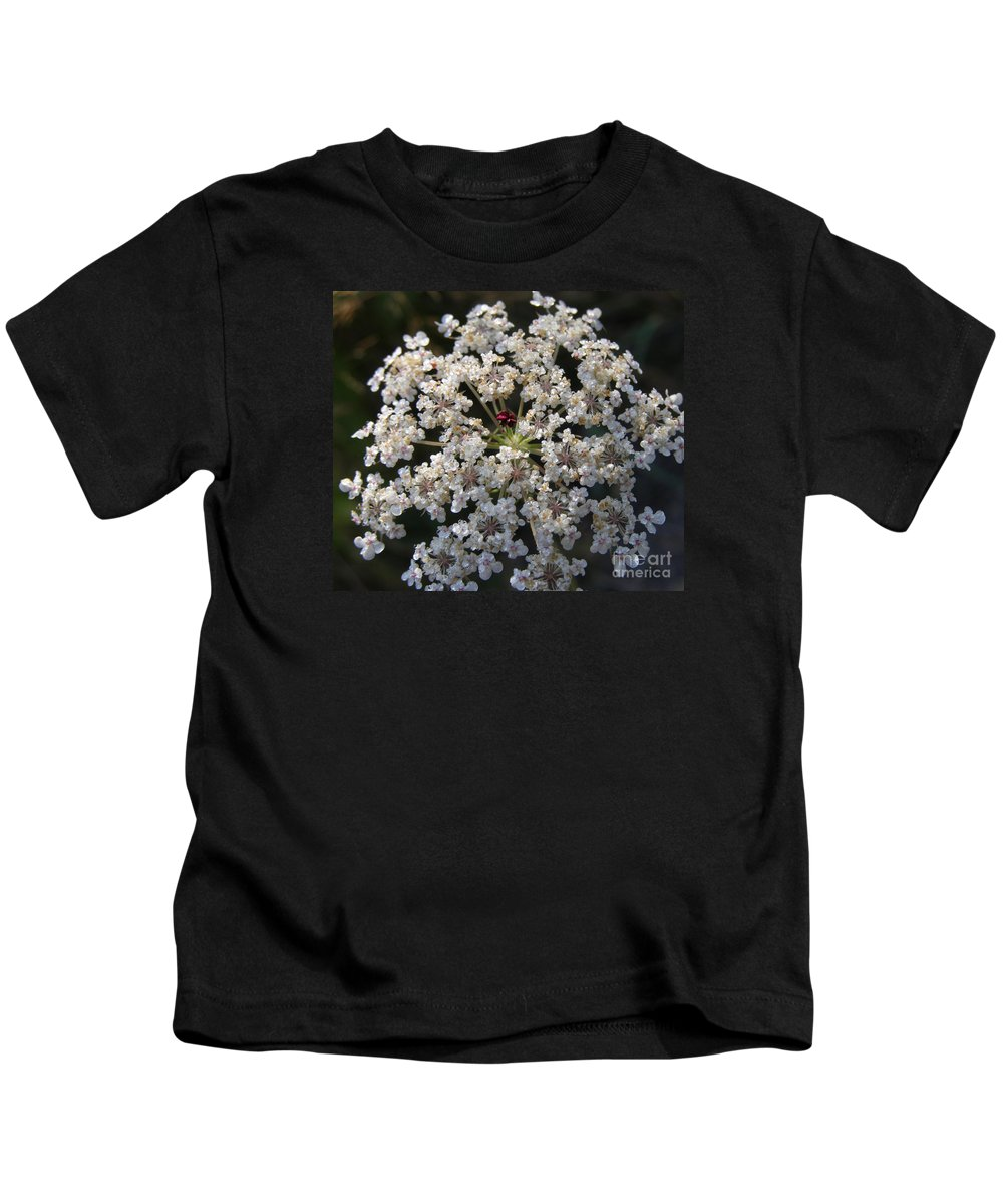 Wildflowers Kids T-Shirt featuring the photograph Dew On Queen Annes Lace by Lynn Quinn