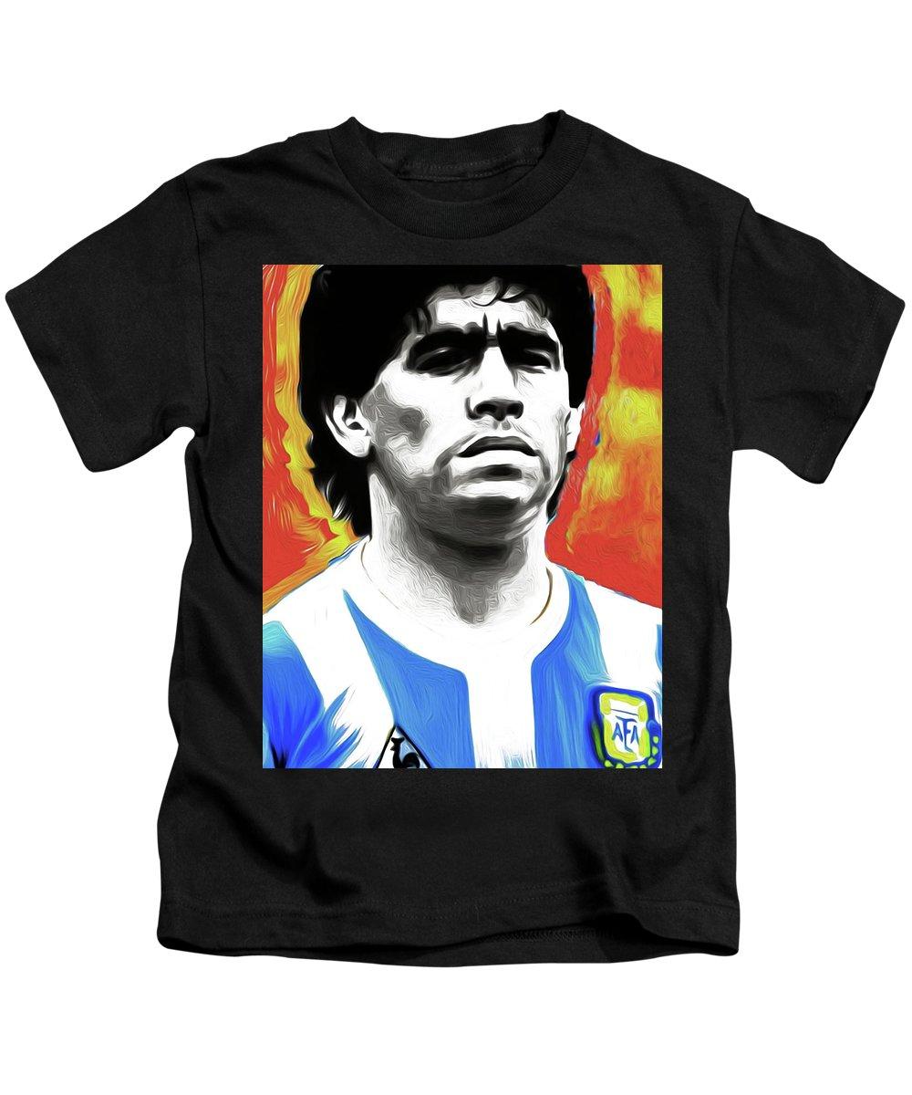 Diego Maradona Kids T-Shirt featuring the painting Diego Maradona By Nixo by Supreme Inc