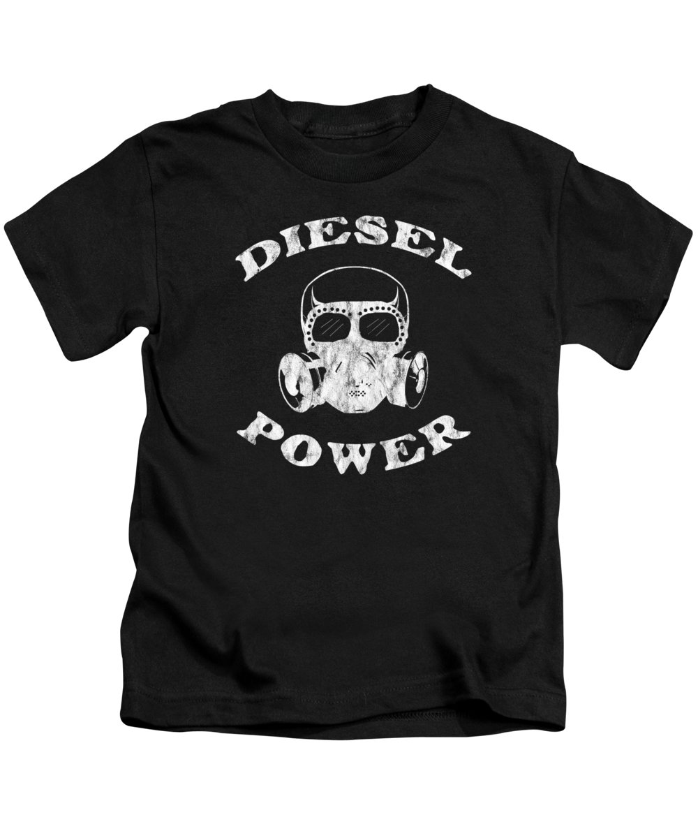 Black-smoke Kids T-Shirt featuring the digital art Diesel Power Gas Mask Skull Truck Offroad White Distressed by Henry B