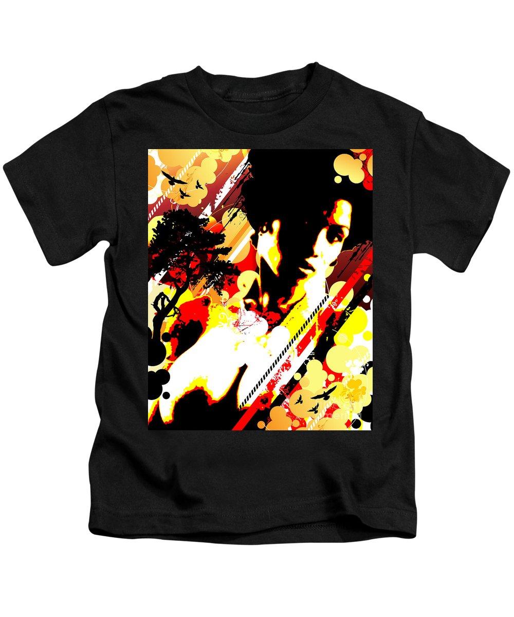 Nostalgic Seduction Kids T-Shirt featuring the digital art Dim Sunrise by Chris Andruskiewicz