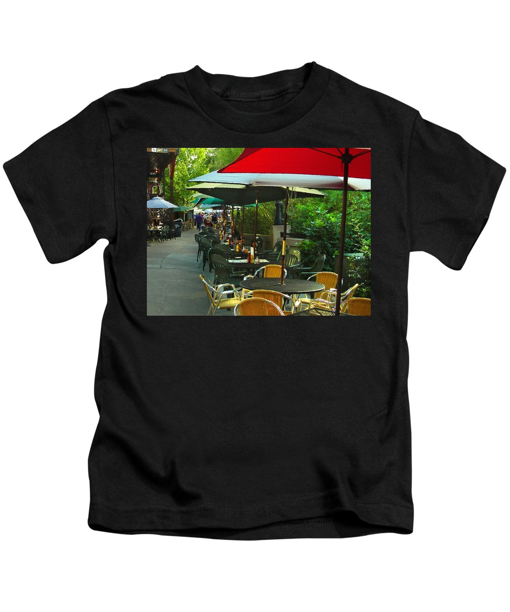 Cafe Kids T-Shirt featuring the photograph Dining Under The Umbrellas by James Eddy