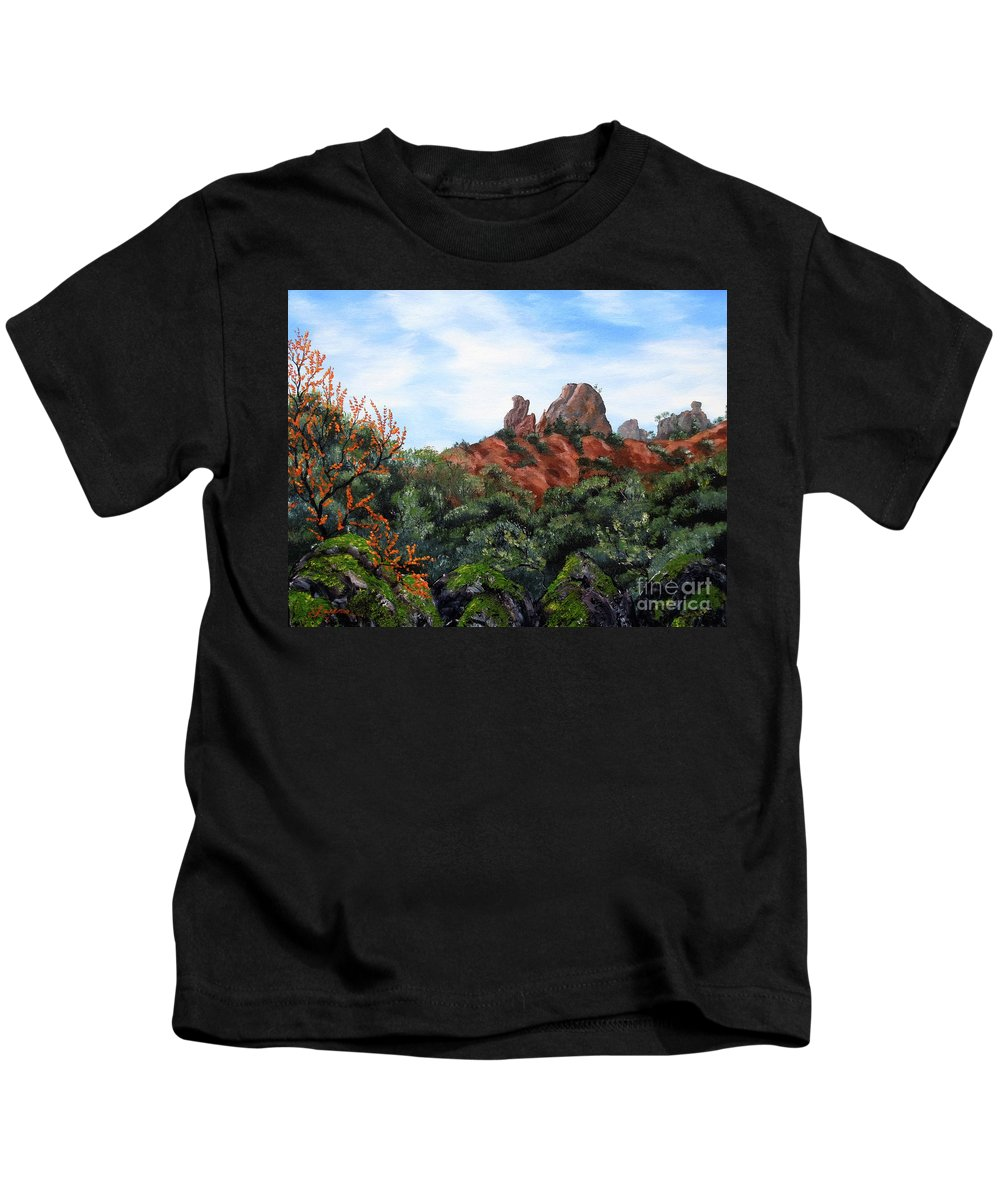 California Kids T-Shirt featuring the painting Distant View Of High Peaks by Laura Iverson
