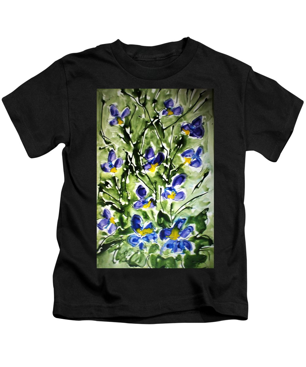 Flowers Kids T-Shirt featuring the painting Divine Blooms-21169 by Baljit Chadha
