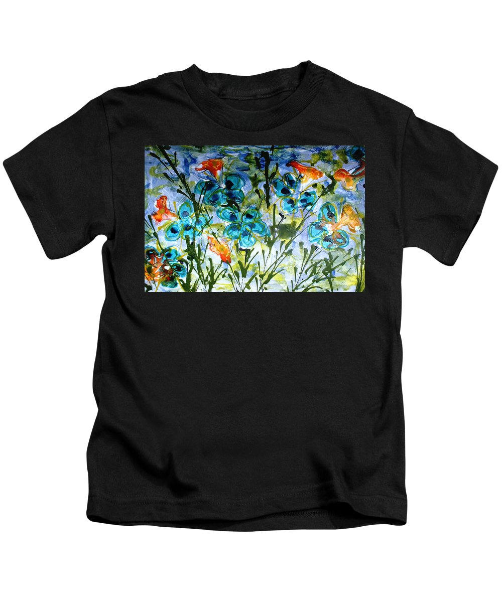 Flowers Kids T-Shirt featuring the painting Divine Blooms-21180 by Baljit Chadha