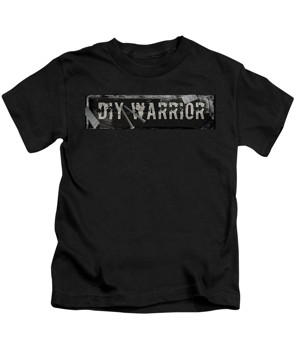 Mancave Kids T-Shirt featuring the painting Diy Warrior by Mindy Sommers