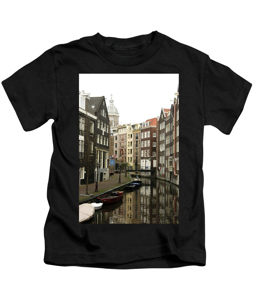 Landscape Amsterdam Red Light District Kids T-Shirt featuring the photograph Dnrh1101 by Henry Butz