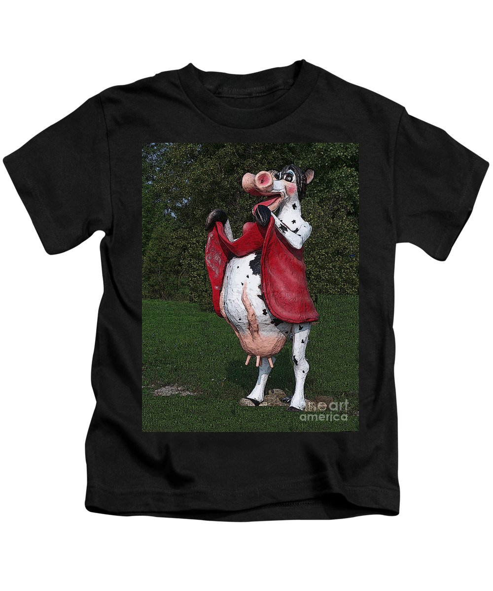 Cow Kids T-Shirt featuring the photograph Do Happy Cows Come From Ca by Tommy Anderson