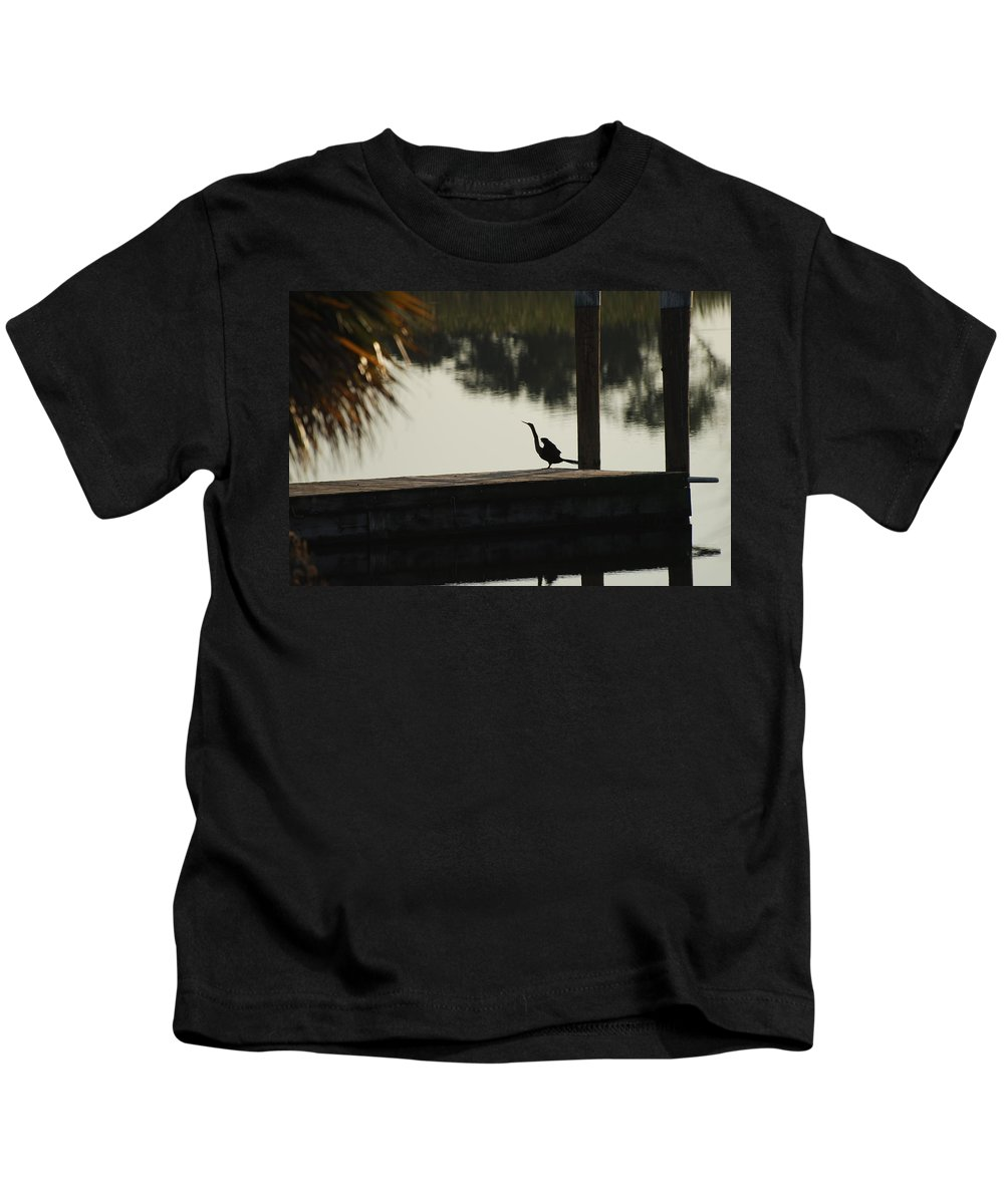 Reflections Kids T-Shirt featuring the photograph Dock Bird In Color by Rob Hans