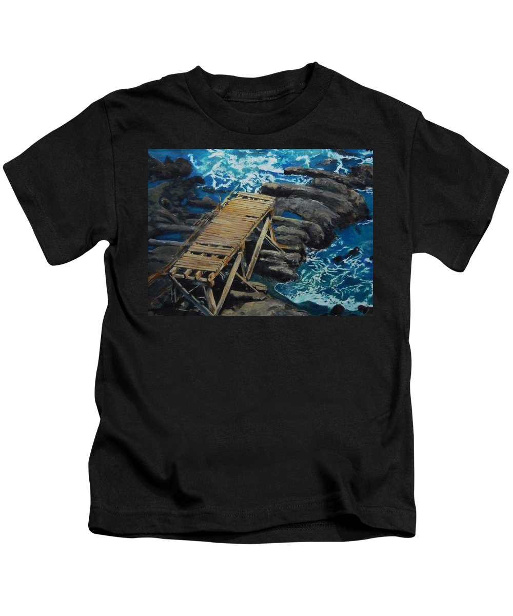 Dock Kids T-Shirt featuring the painting Dock by Travis Day