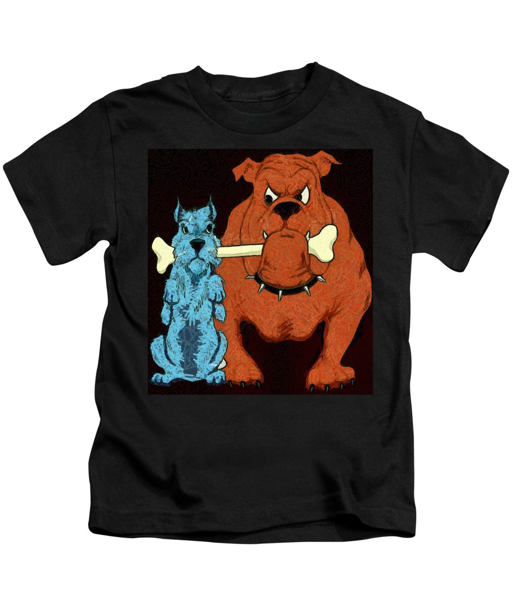 Dog Fight Stand Off Kids T-Shirt featuring the painting Dog Fight Stand Off by Uknown Artist