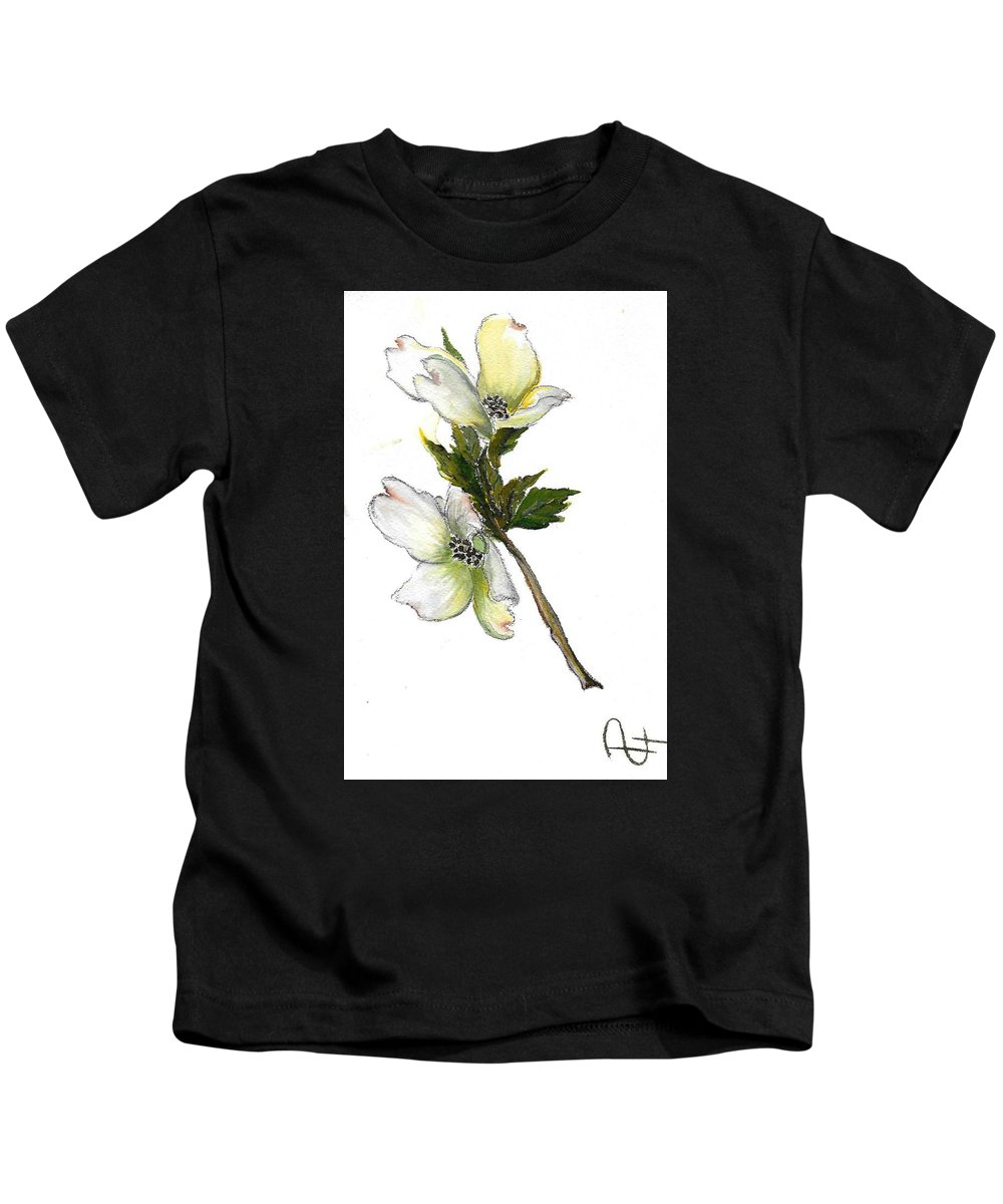 Kids T-Shirt featuring the painting Dogwood by Dina Holland