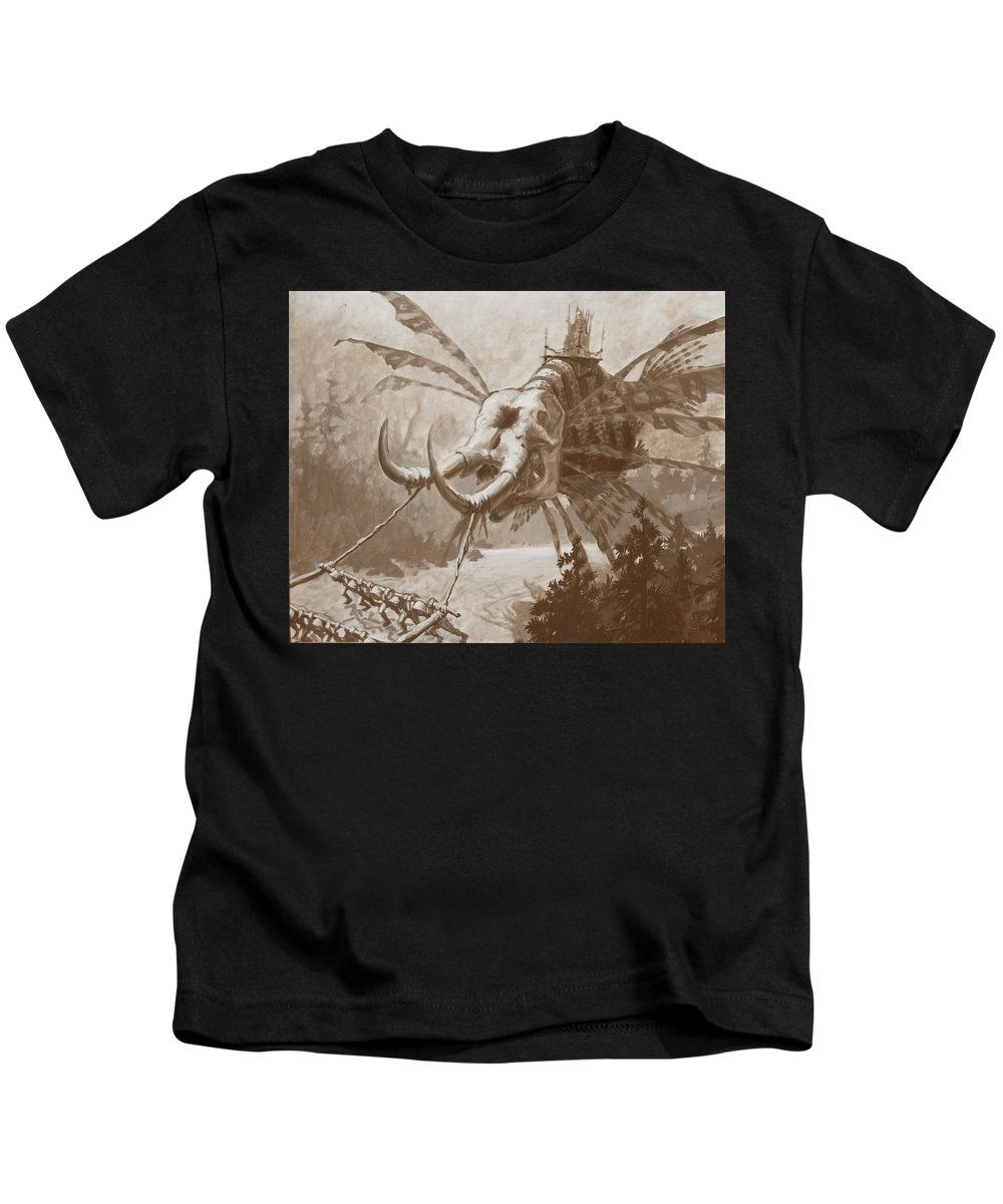 Sam Arneson Kids T-Shirt featuring the painting Doom by Sam Arneson