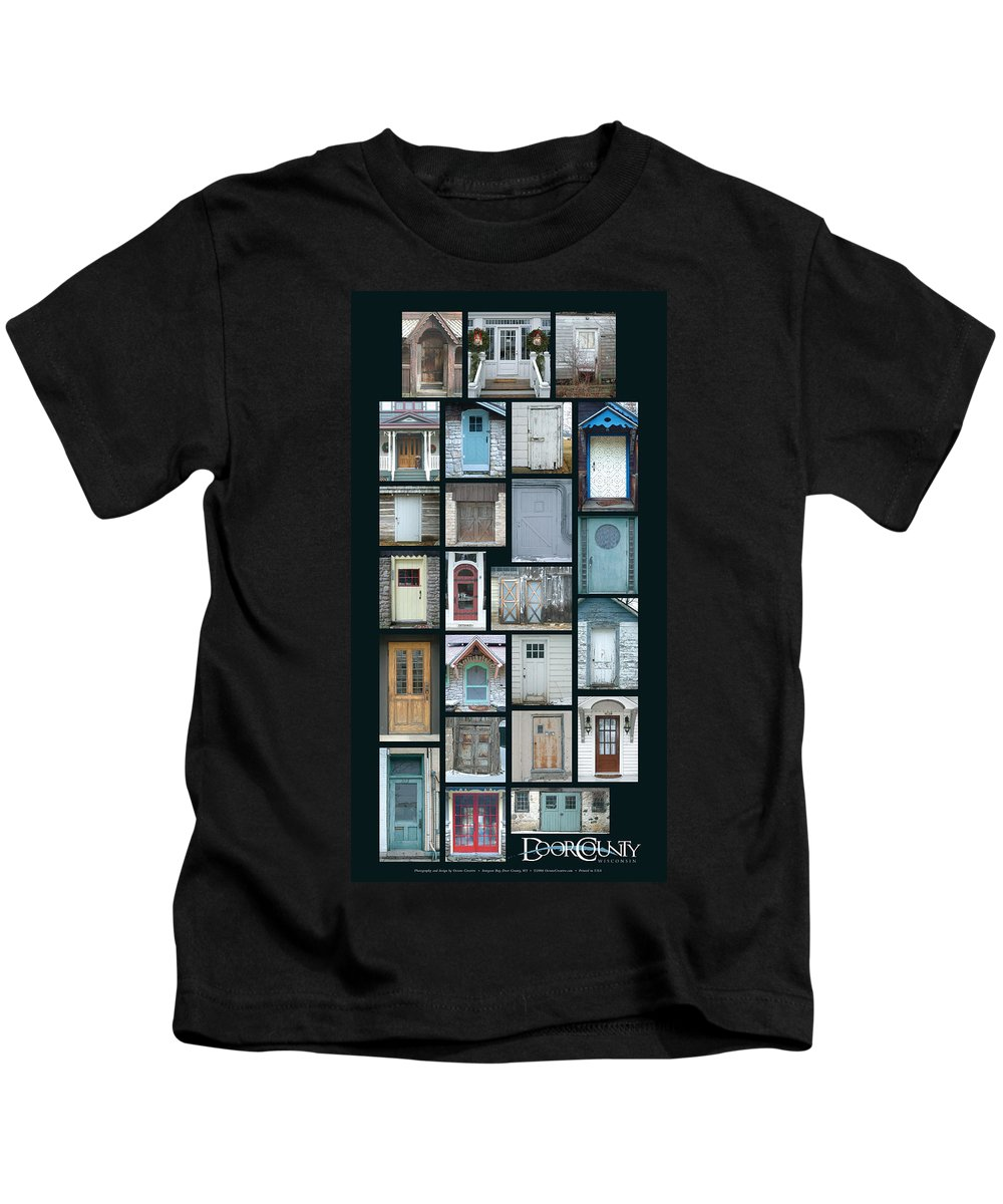Doors Kids T-Shirt featuring the photograph Doors Of Door County Poster by Tim Nyberg