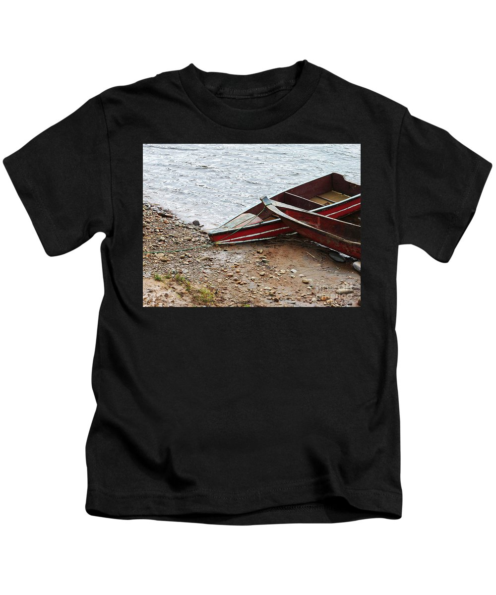 Boats Kids T-Shirt featuring the photograph Dos Barcos by Kathy McClure