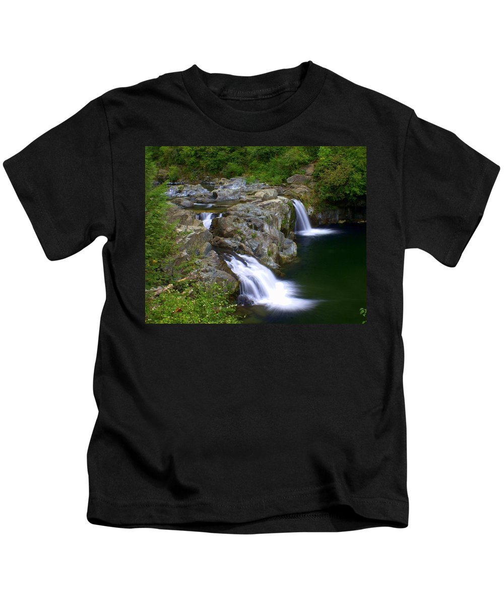 Waterfalls Kids T-Shirt featuring the photograph Double Falls by Marty Koch