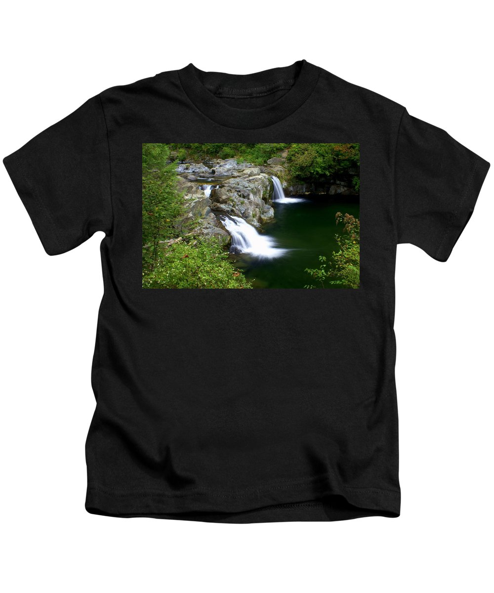 Waterfall Kids T-Shirt featuring the greeting card Double Twin 2 by Marty Koch