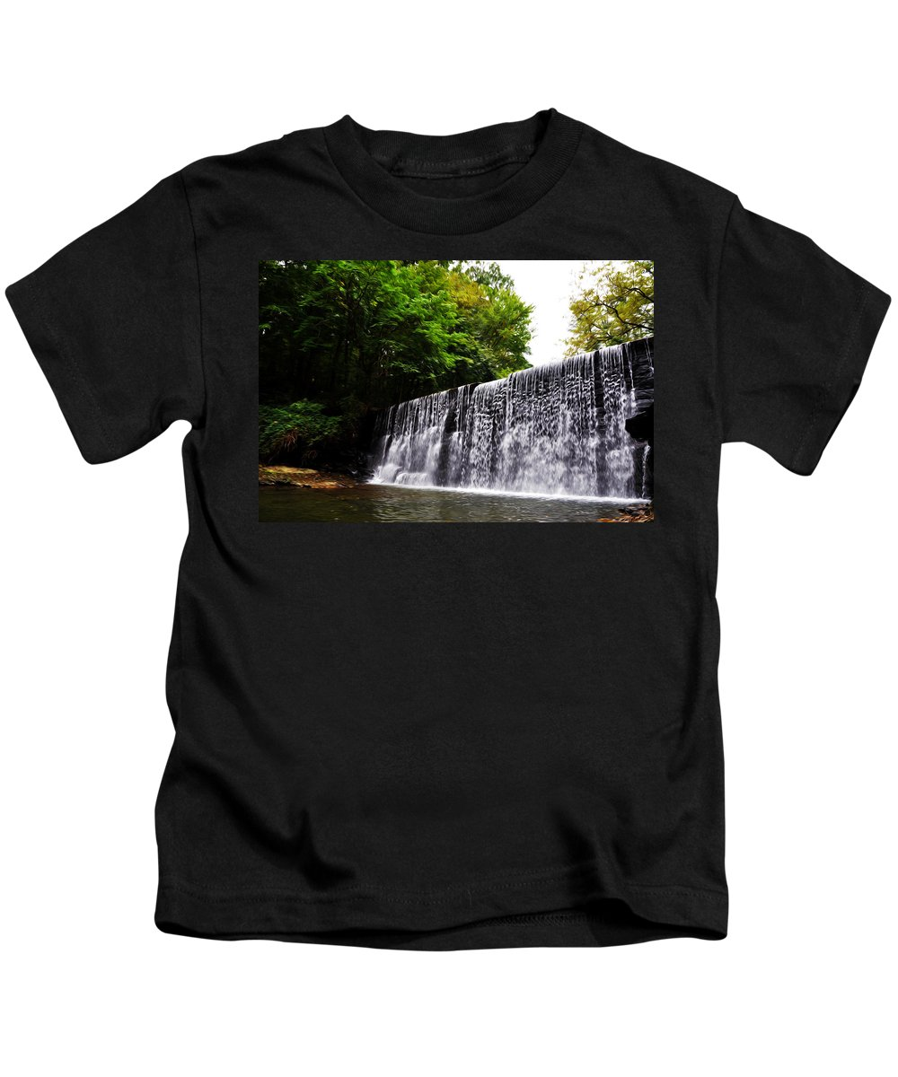 Dove Lake Waterfall Kids T-Shirt featuring the photograph Dove Lake Waterfall by Bill Cannon