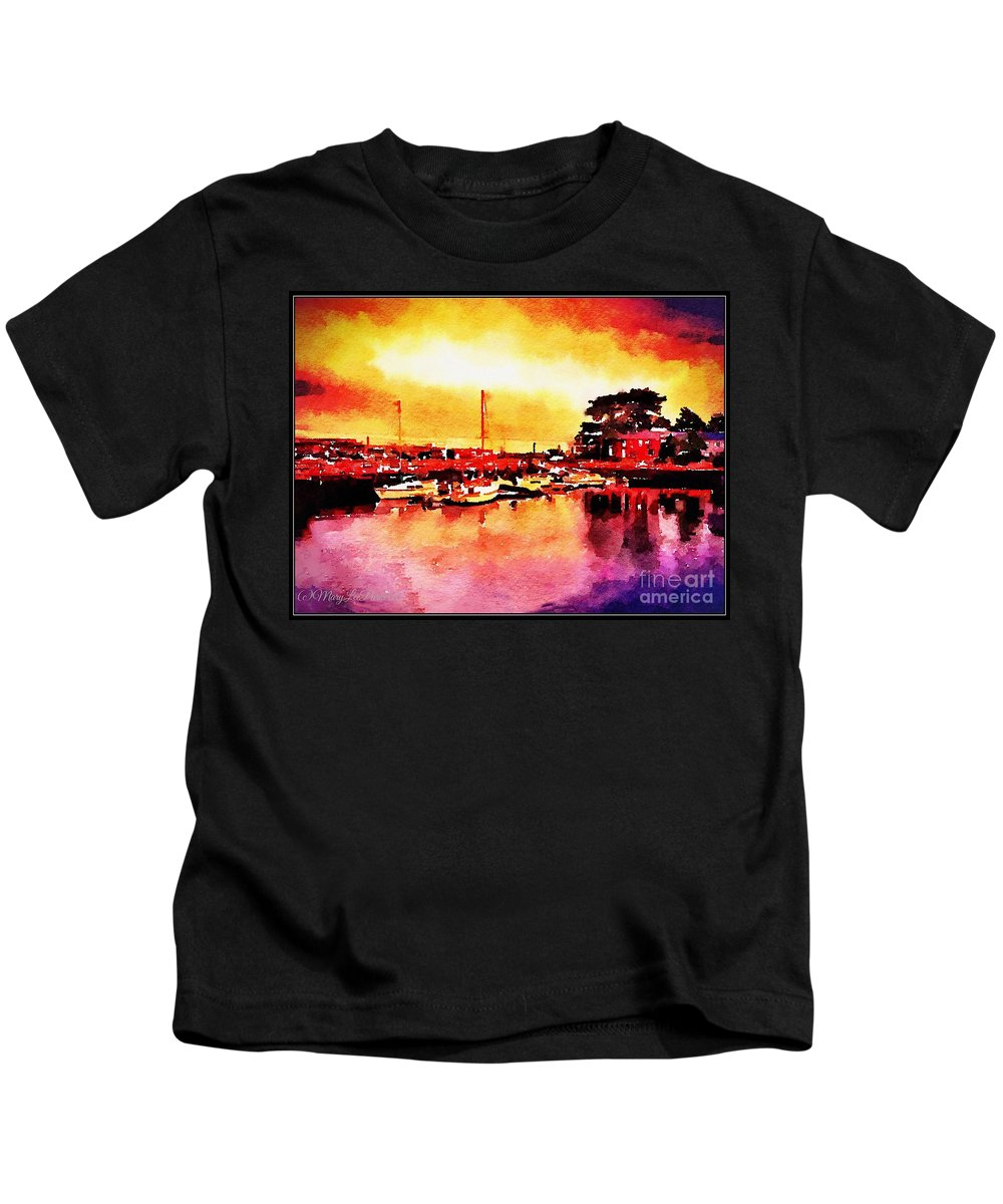 Mix Media Kids T-Shirt featuring the mixed media Down By Dock 2 by MaryLee Parker