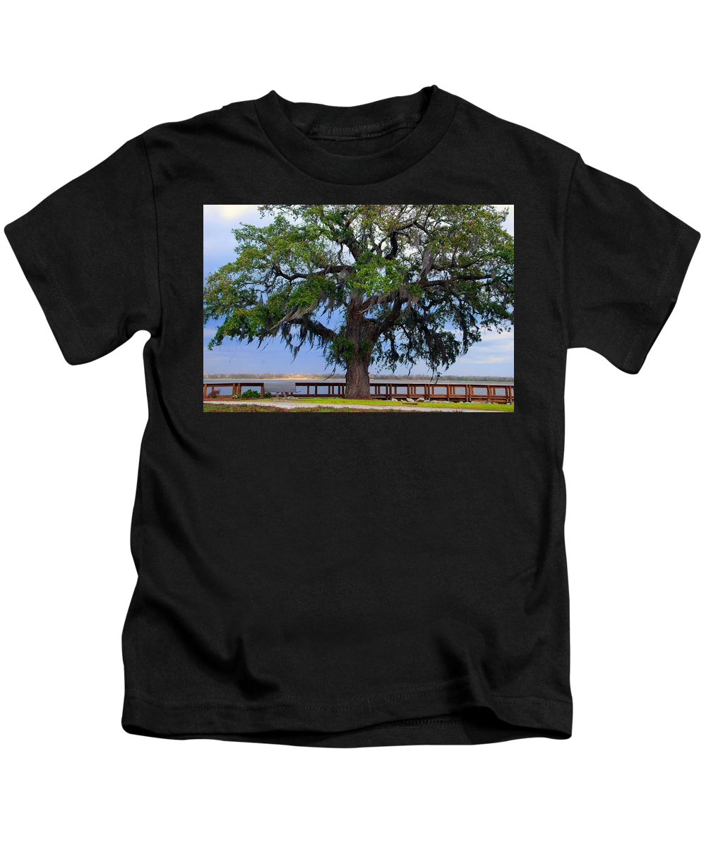 Photography Kids T-Shirt featuring the photograph Down By The River Side by Susanne Van Hulst