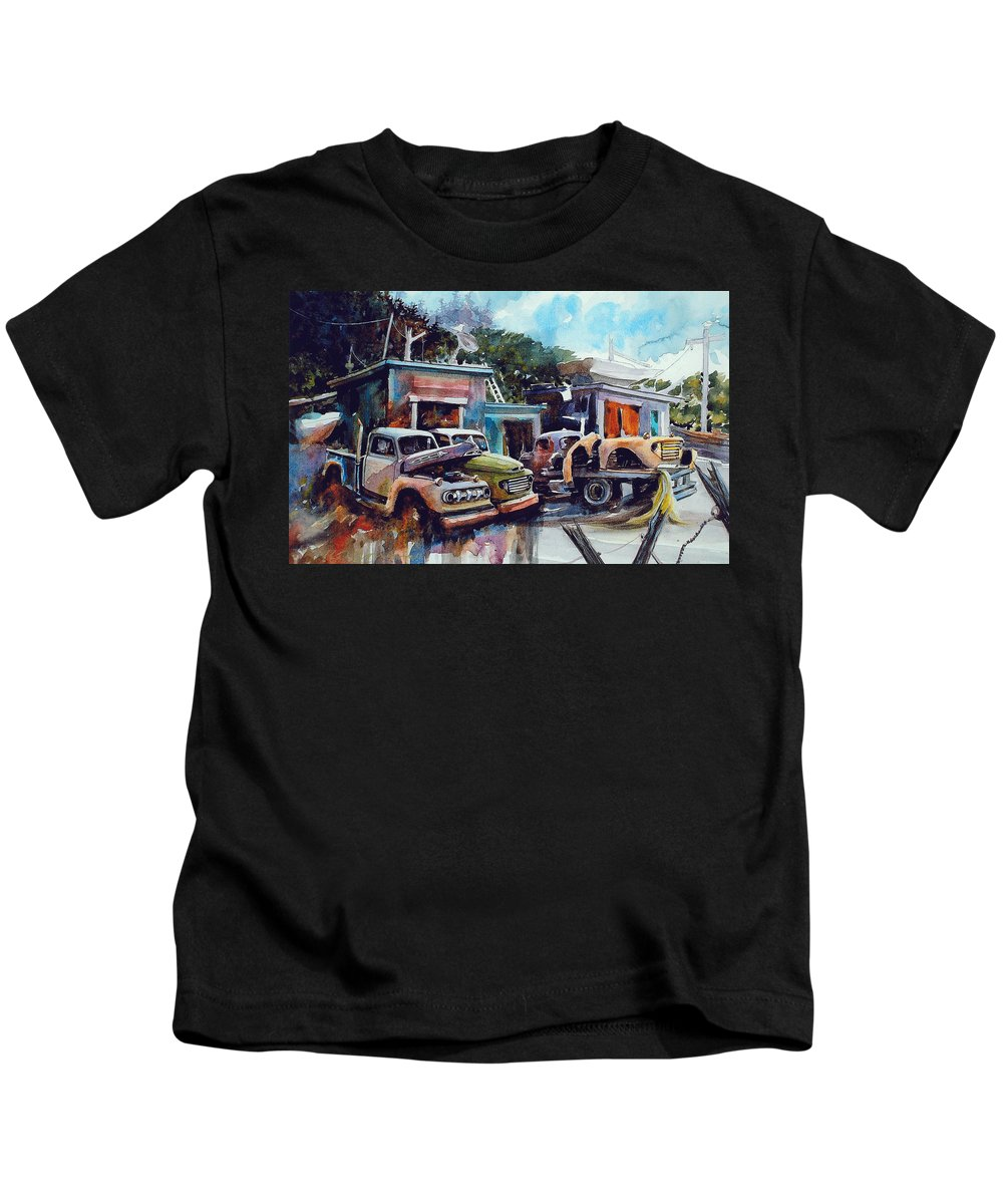 Trucks Kids T-Shirt featuring the painting Down on the Lower Road by Ron Morrison