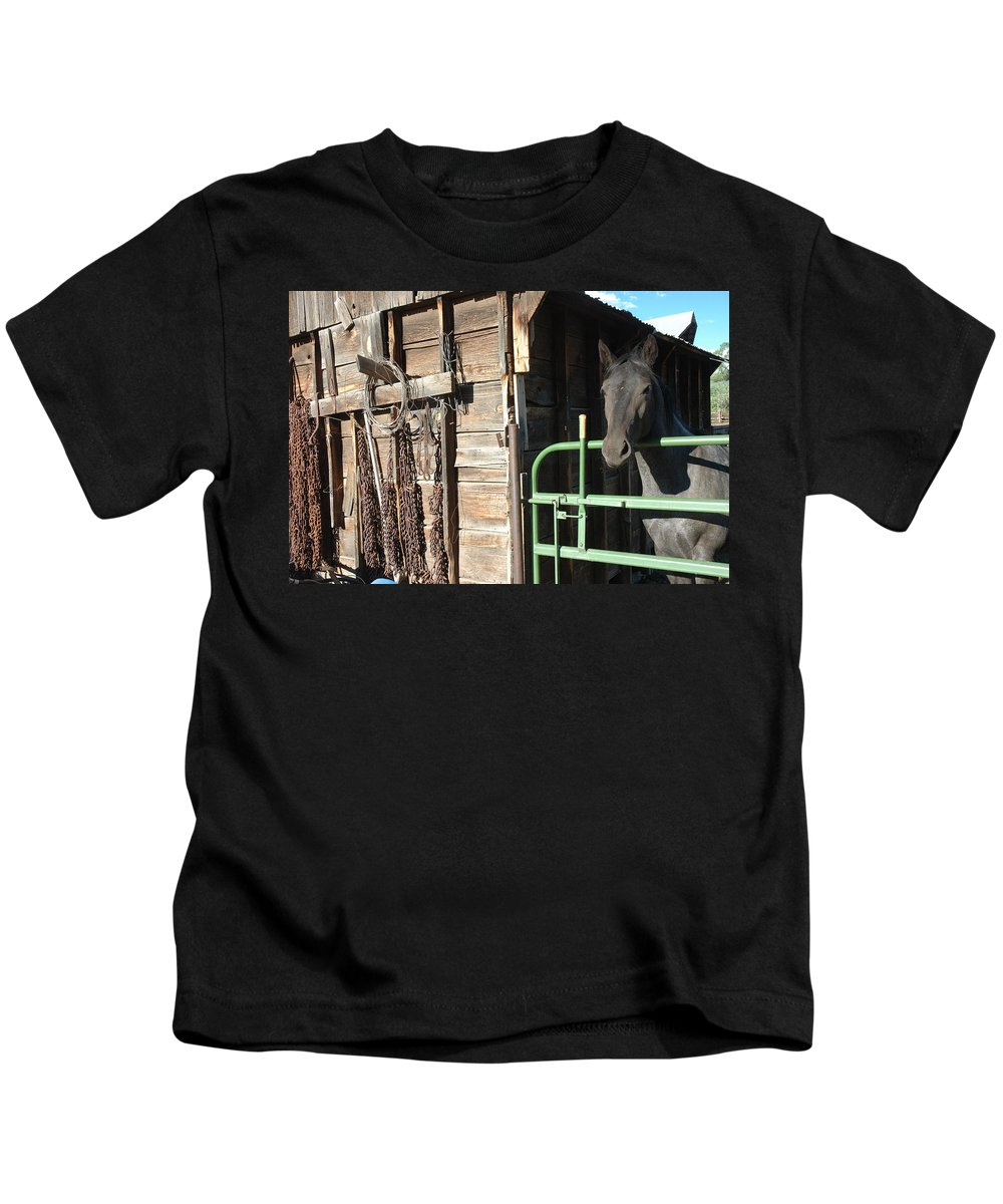 Horse Kids T-Shirt featuring the photograph Down On The Ranch by Jerry McElroy