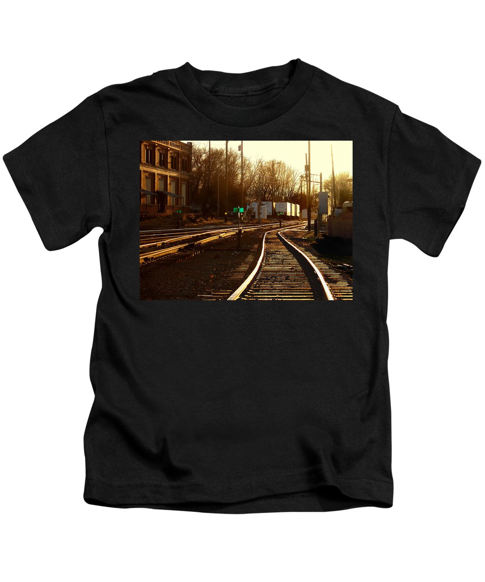 Landscape Kids T-Shirt featuring the photograph Down The Right Track 2 by Steve Karol