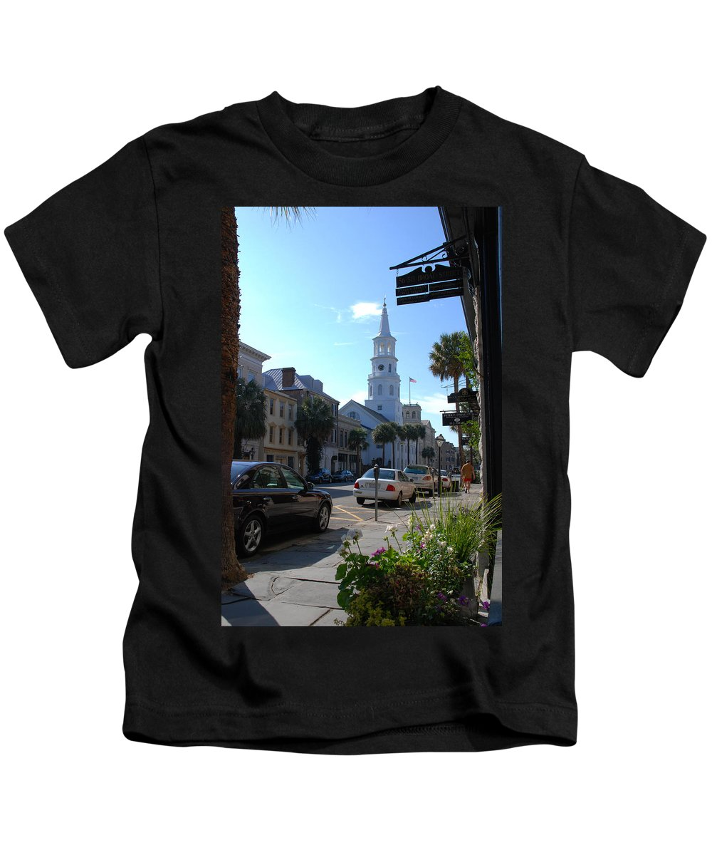 Photography Kids T-Shirt featuring the photograph Down Town Charleston by Susanne Van Hulst