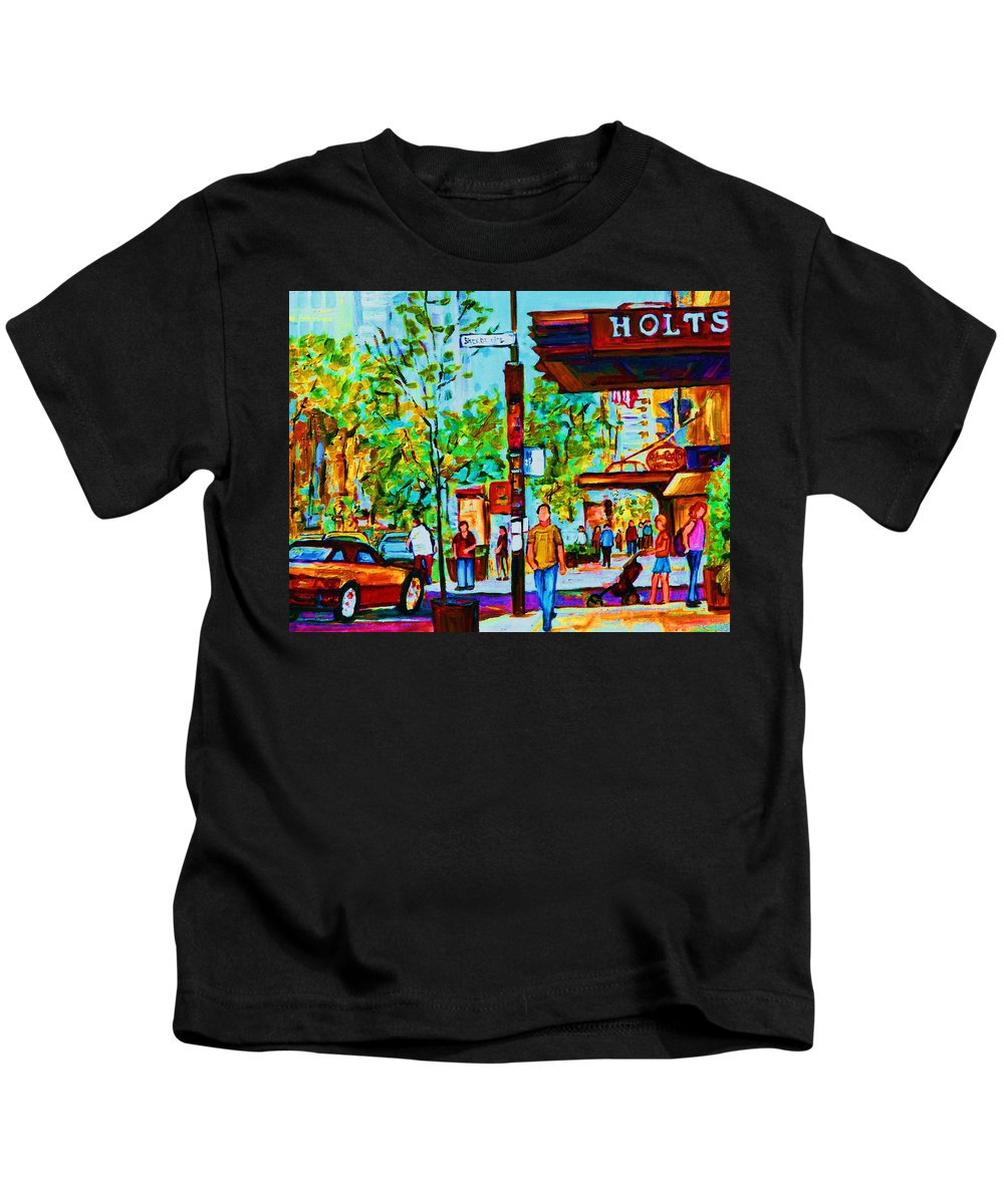 Montreal Streetscene Kids T-Shirt featuring the painting Downtowns Popping by Carole Spandau