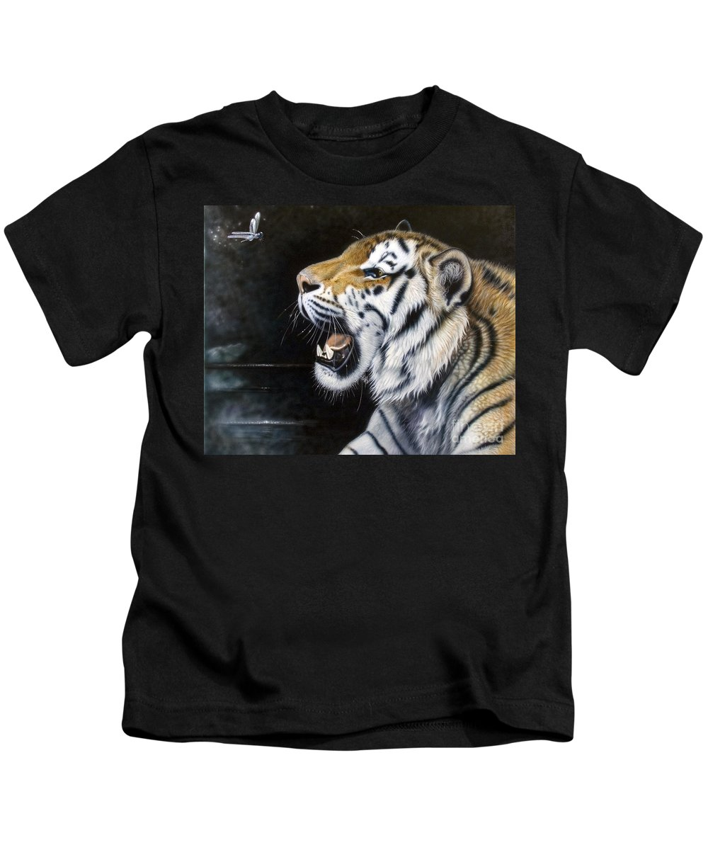 Tiger Kids T-Shirt featuring the painting Dragonfly by Sandi Baker