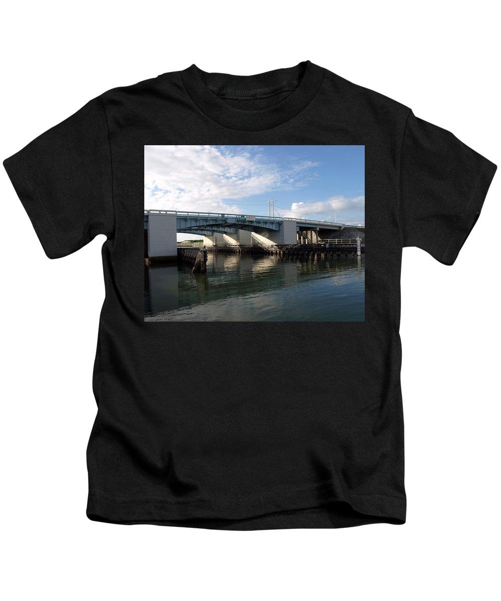 Drawbridge At Port Canaveral In Florida Kids T-Shirt featuring the photograph Drawbridge At Port Canaveral In Florida by Allan Hughes