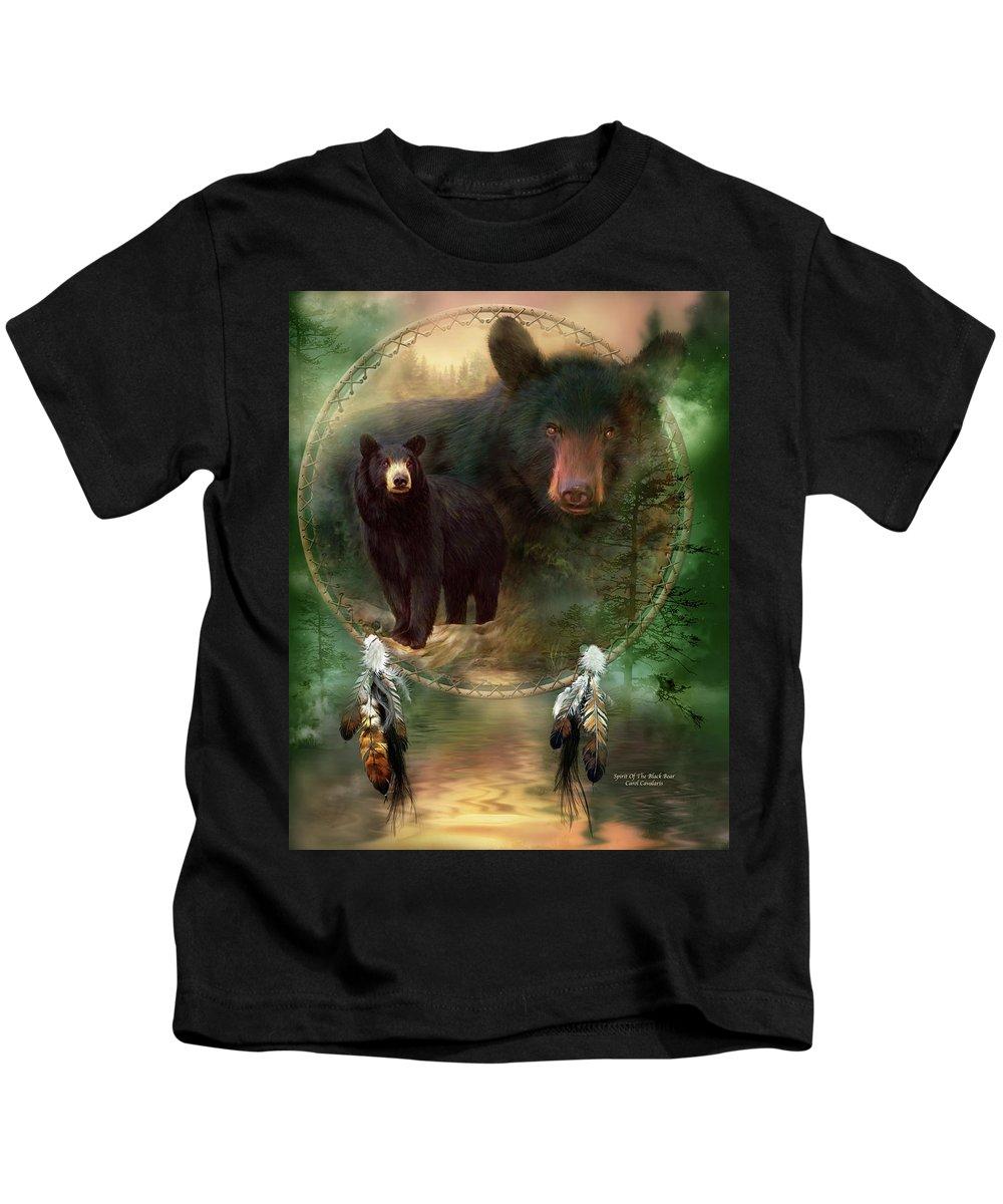 Carol Cavalaris Kids T-Shirt featuring the painting Dream Catcher - Spirit Of The Black Bear by Carol Cavalaris