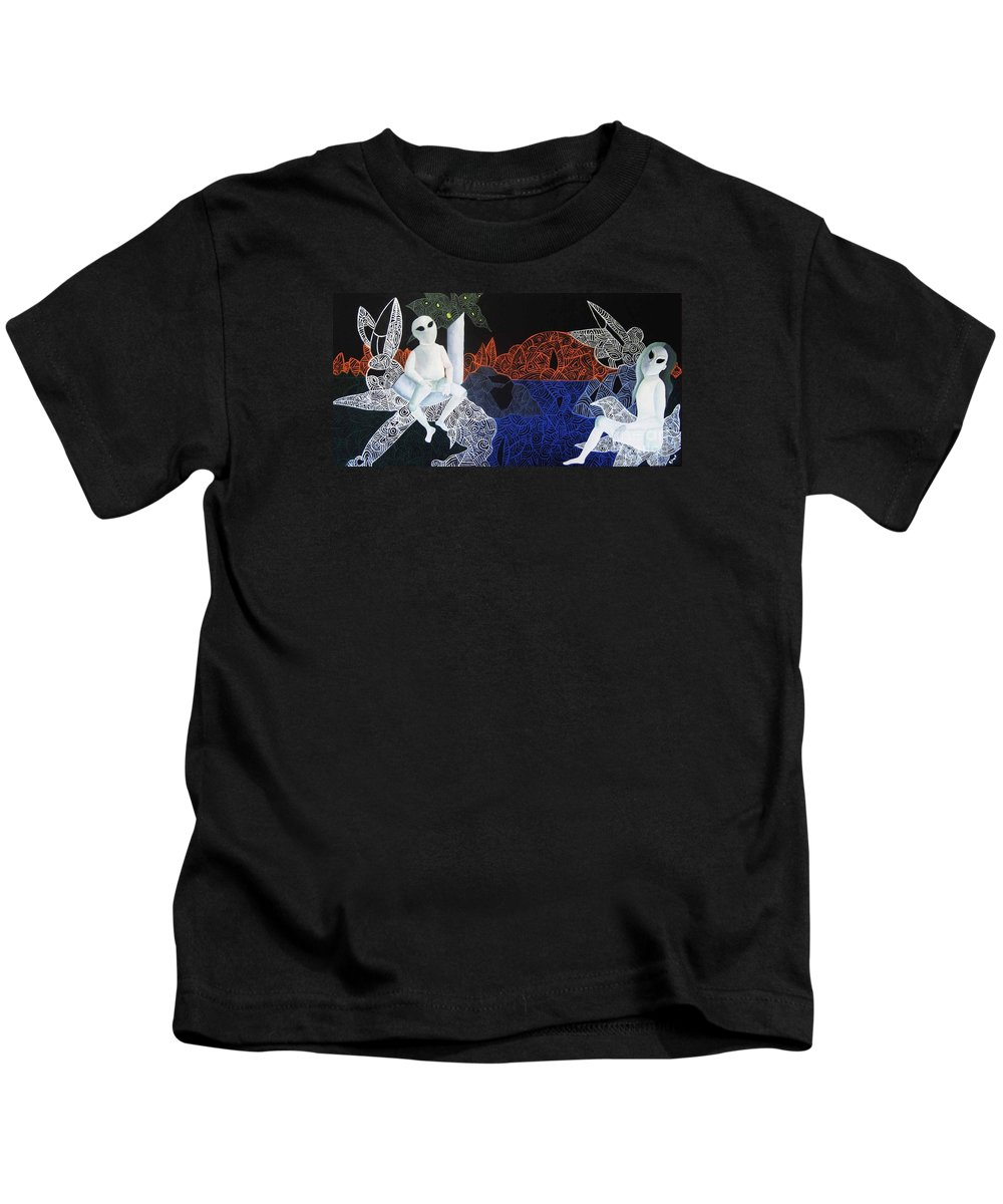 Surreal Dreamscape Kids T-Shirt featuring the painting Dreams Of Broken Dolls by Reb Frost