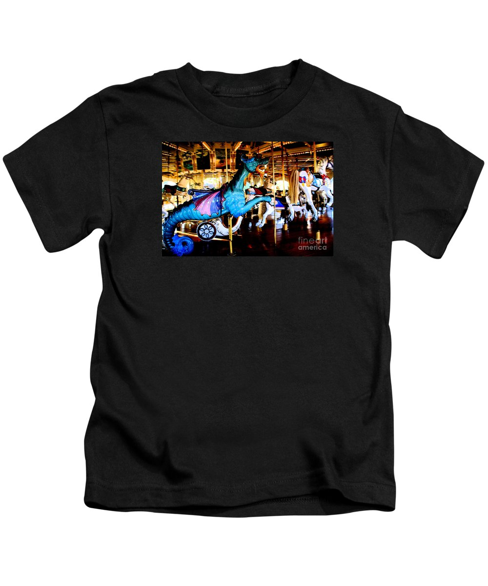 Carousel Kids T-Shirt featuring the photograph Dreams Take Flight by Linda Shafer