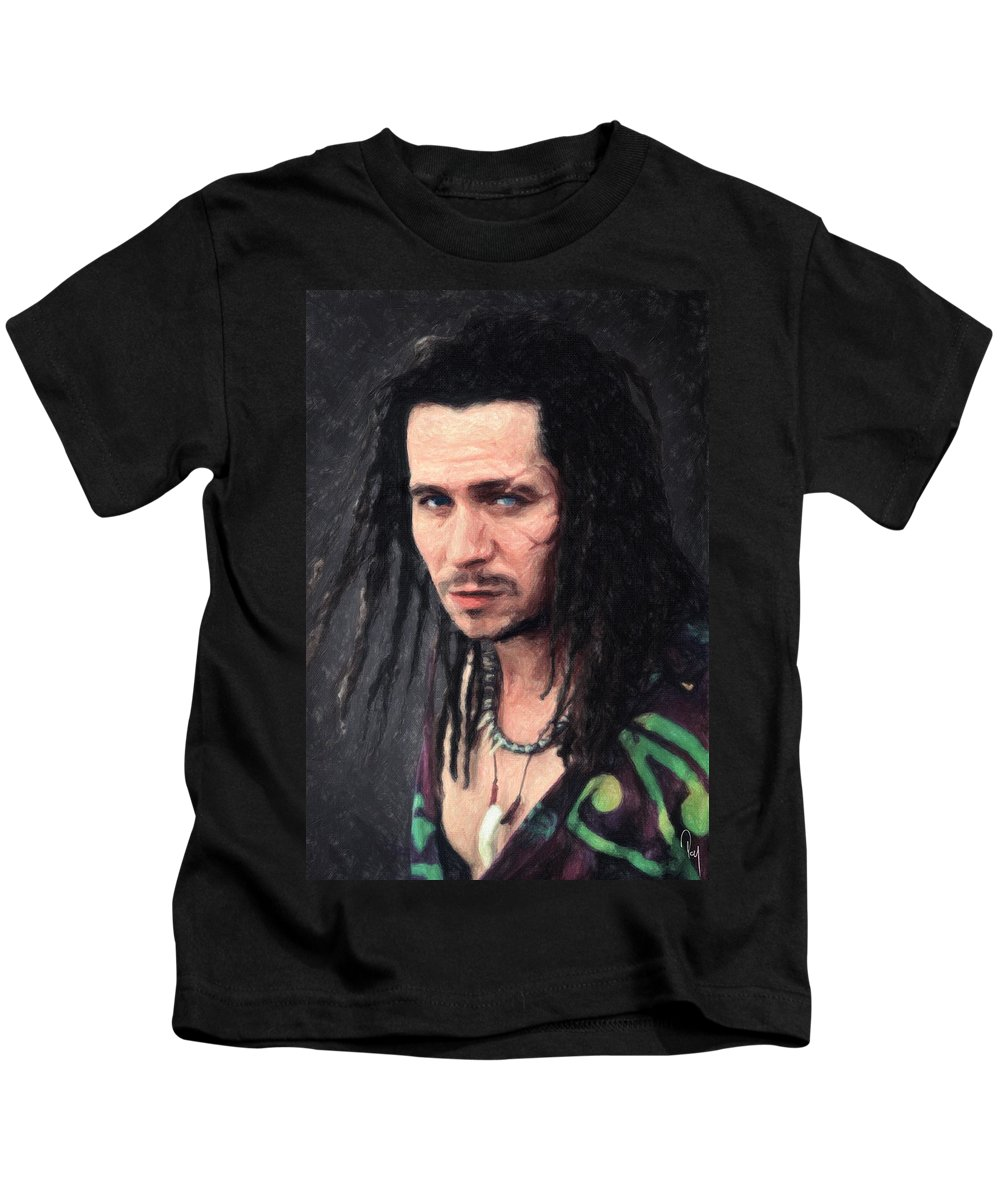Drexl Spivey Kids T-Shirt featuring the painting Drexl Spivey by Zapista