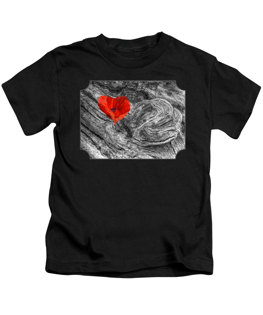 Red Heart Kids T-Shirt featuring the photograph Drifting - Love Merging by Gill Billington