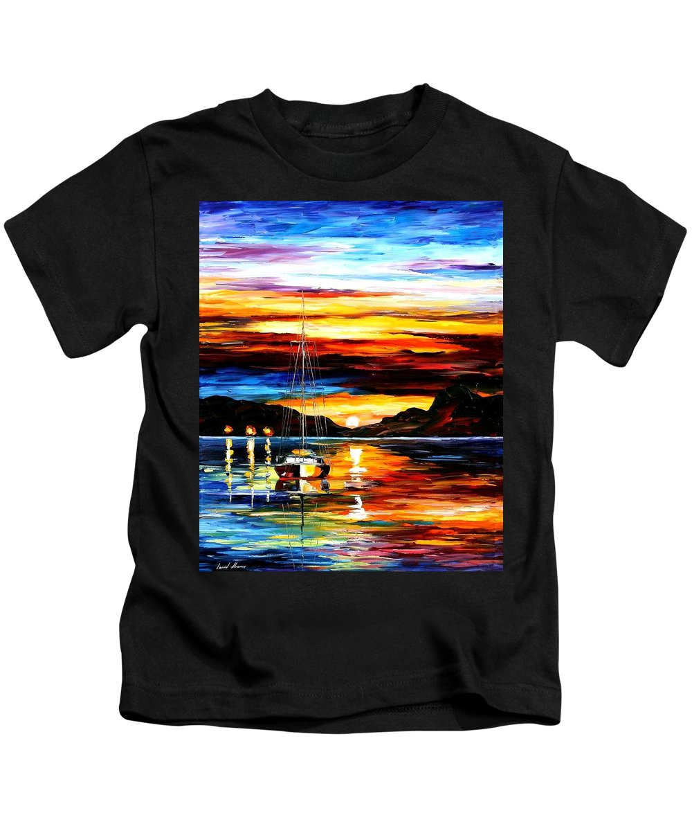 Afremov Kids T-Shirt featuring the painting Drowned Sunset by Leonid Afremov