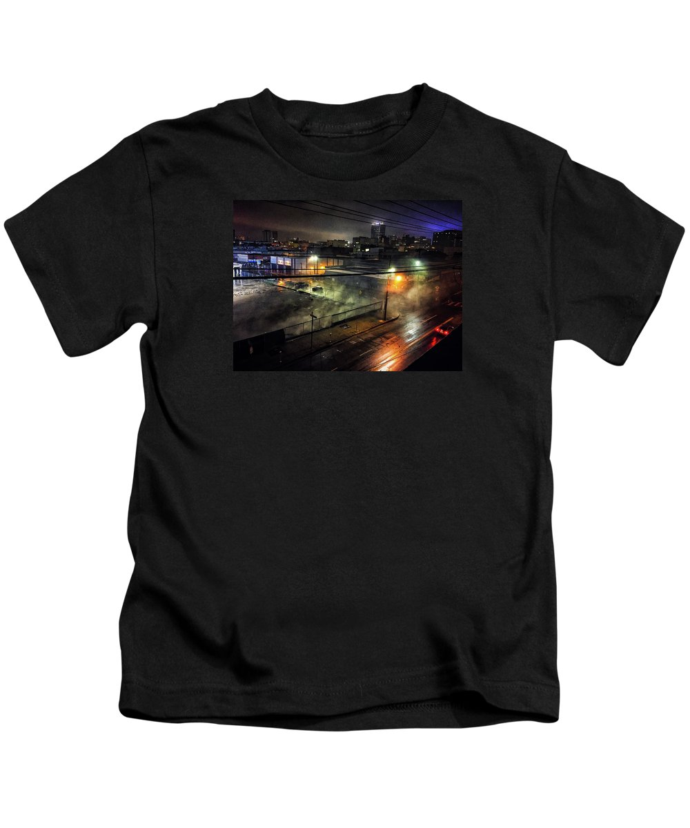 Los Angeles Kids T-Shirt featuring the photograph Los Angeles Night by Braden Moran