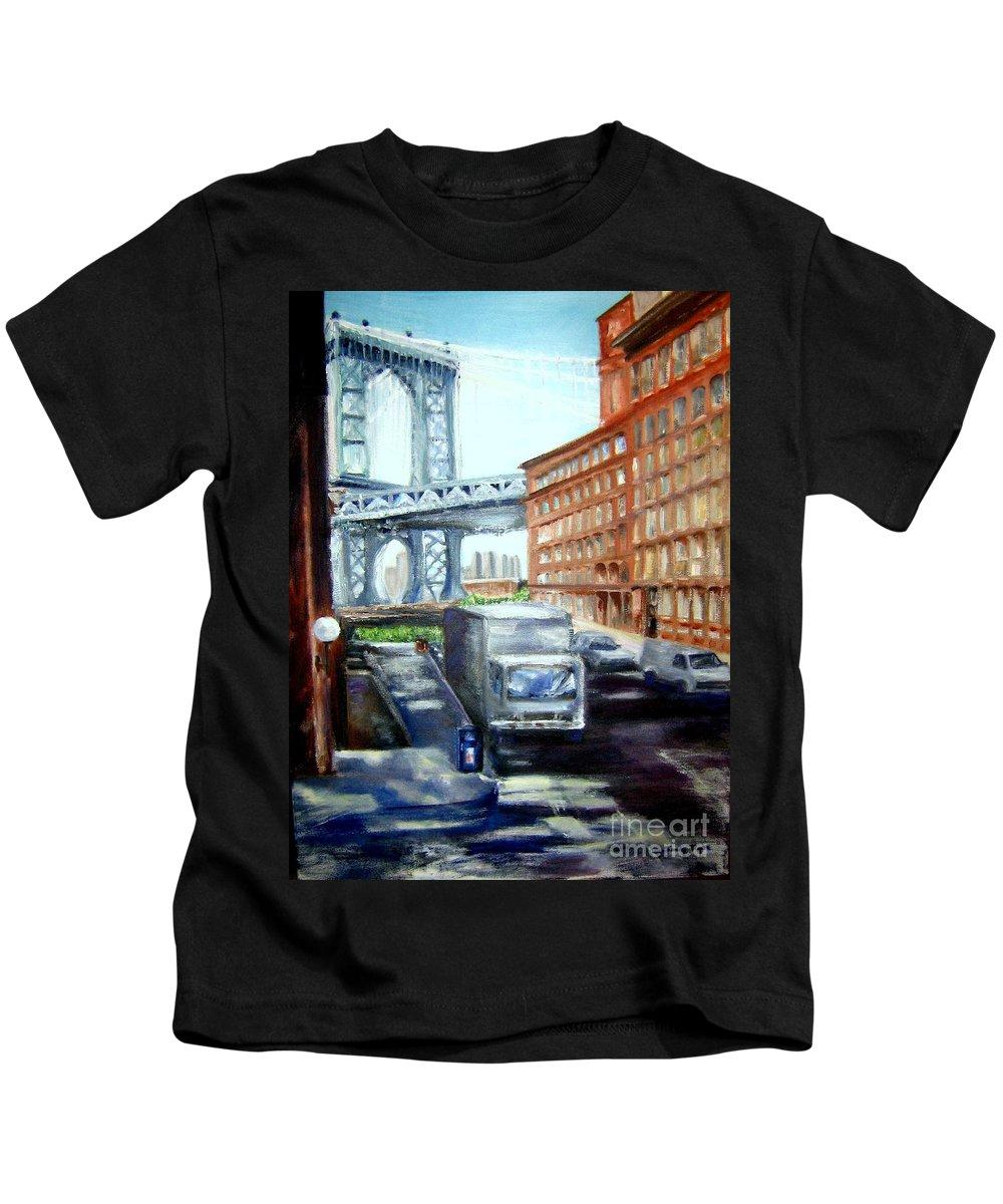 Dumbo Kids T-Shirt featuring the painting Dumbo Bridge by Sandy Ryan