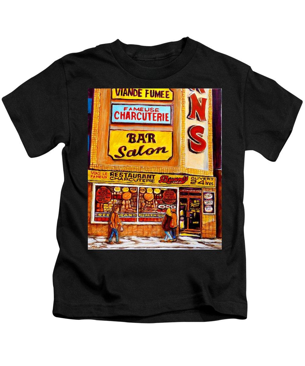 Dunn Kids T-Shirt featuring the painting Dunn's Restaurant Montreal by Carole Spandau