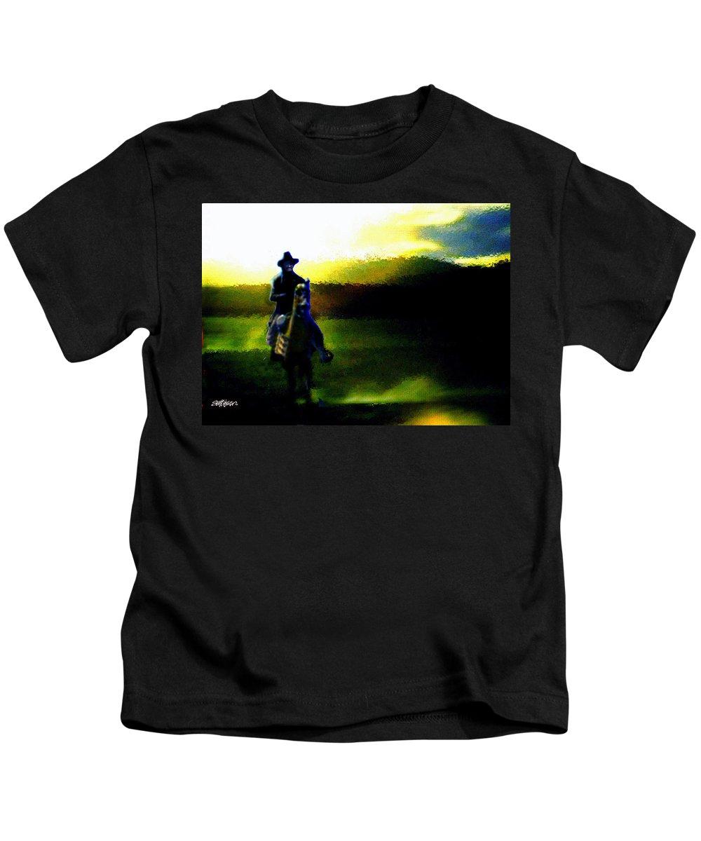 Dusk Kids T-Shirt featuring the digital art Dusk Rider by Seth Weaver