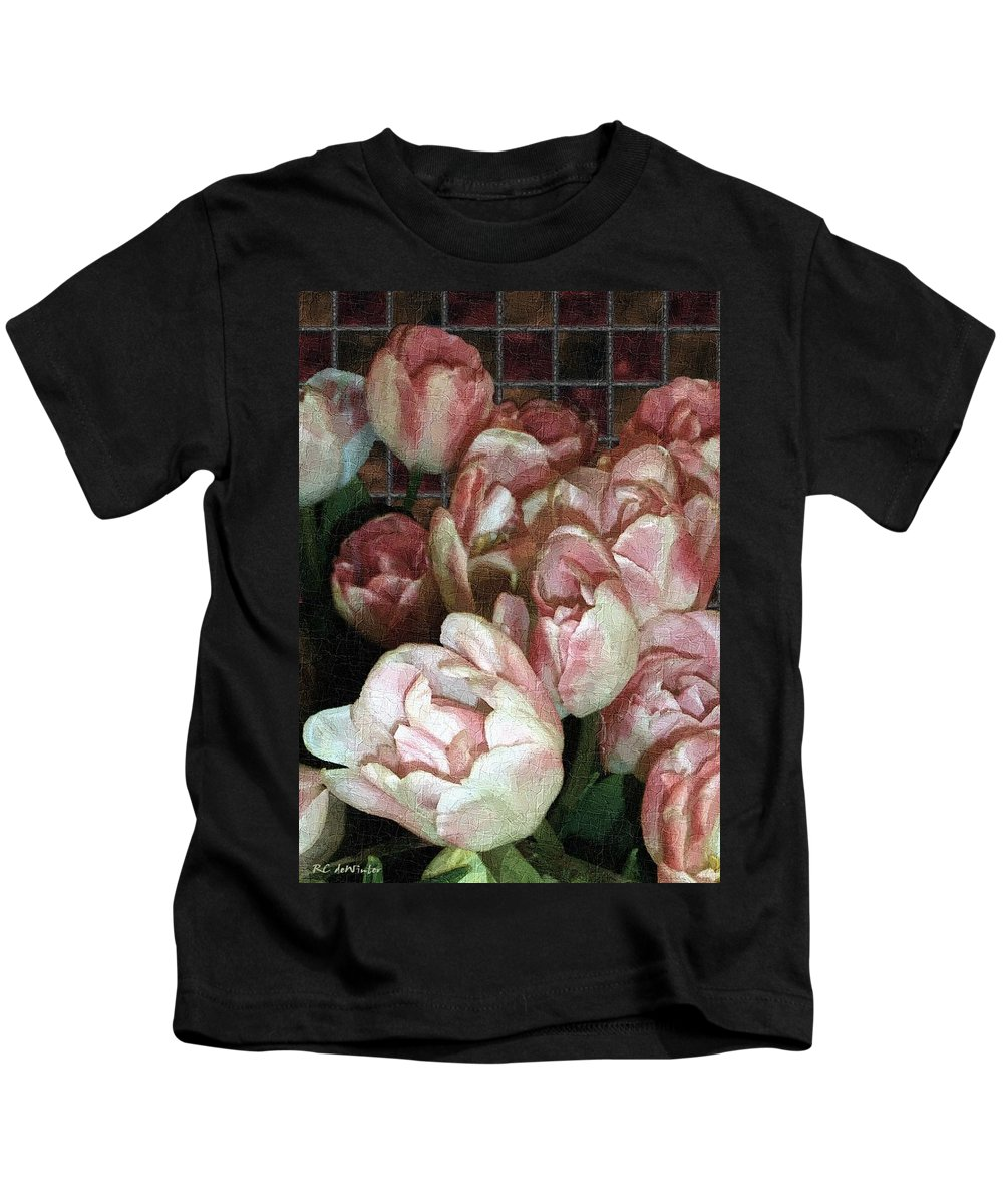 Classical Kids T-Shirt featuring the painting Dutch Tulips Dutch Tile by RC DeWinter