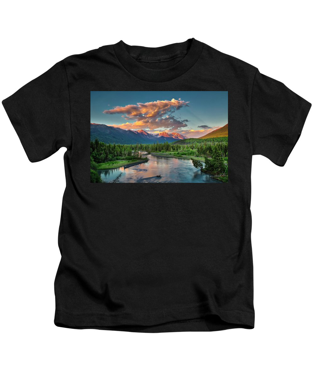 Eagle River Kids T-Shirt featuring the photograph Eagle River Sunset by Ed Boudreau